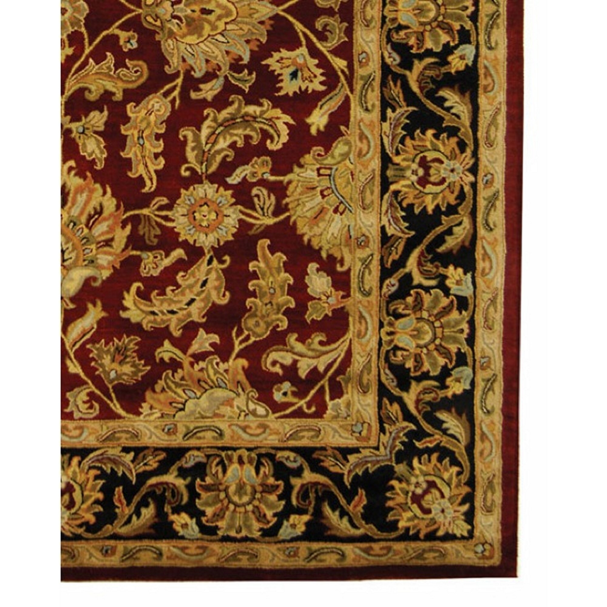 Charlton home cranmore red black floral area rug for Red floral area rug