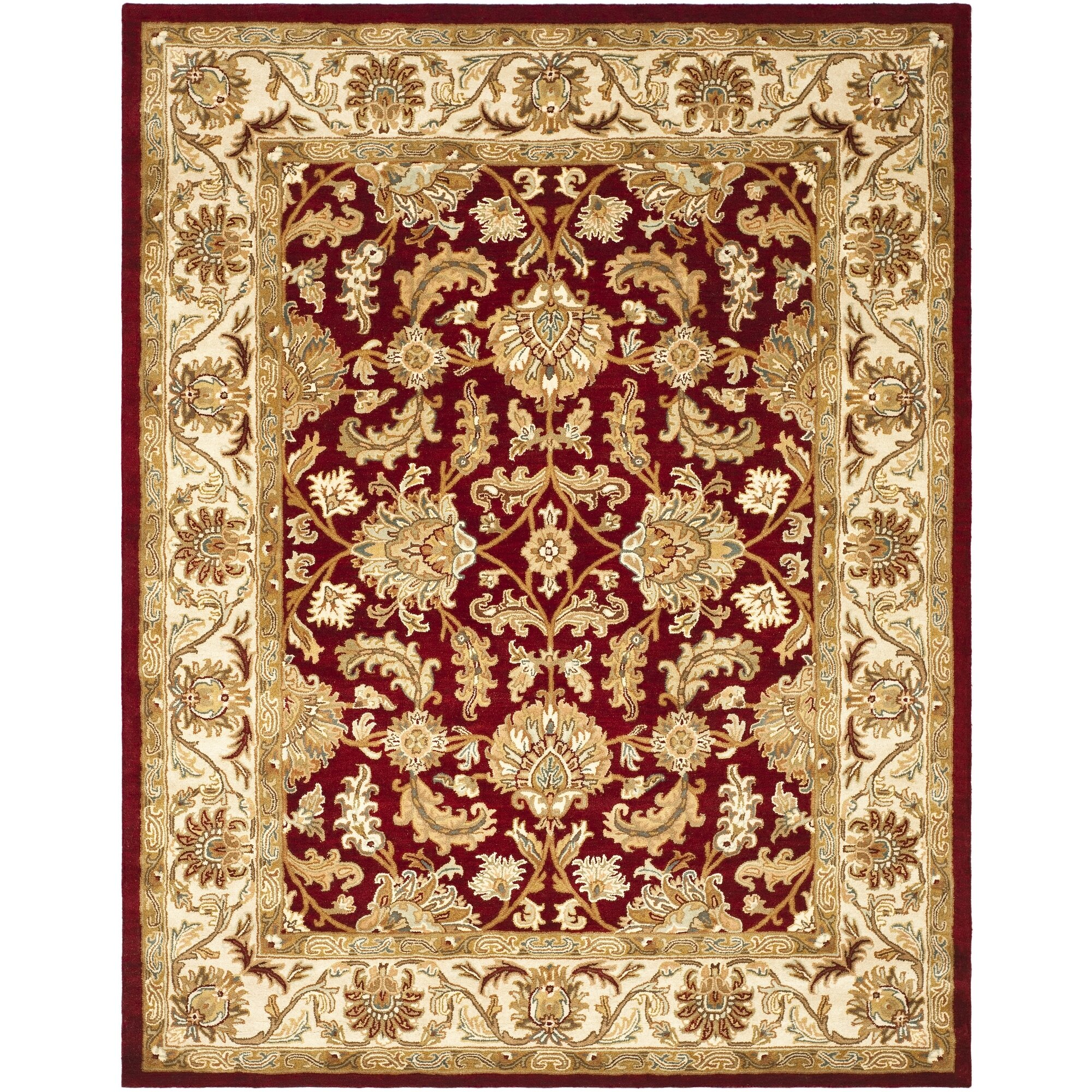 Charlton home cranmore red ivory floral area rug reviews for Red floral area rug