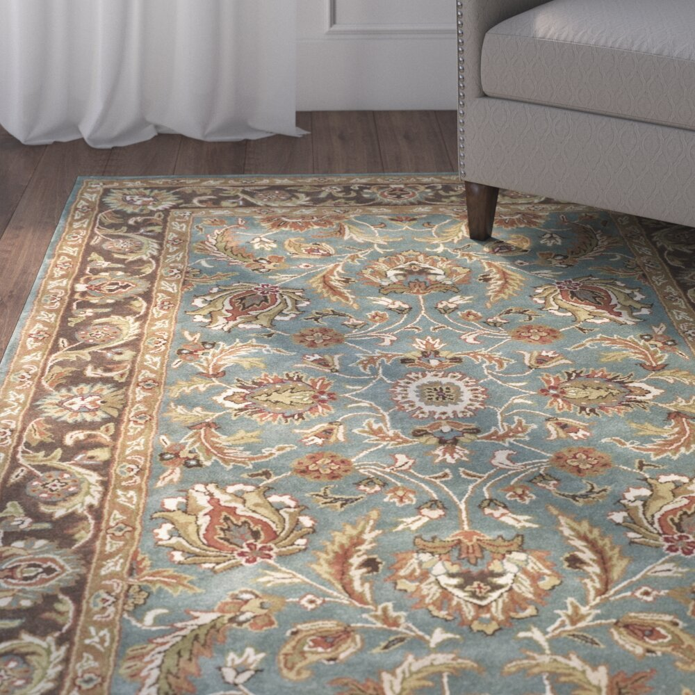 Dog Eating Wool Rug: Charlton Home Cranmore Blue & Brown Area Rug & Reviews