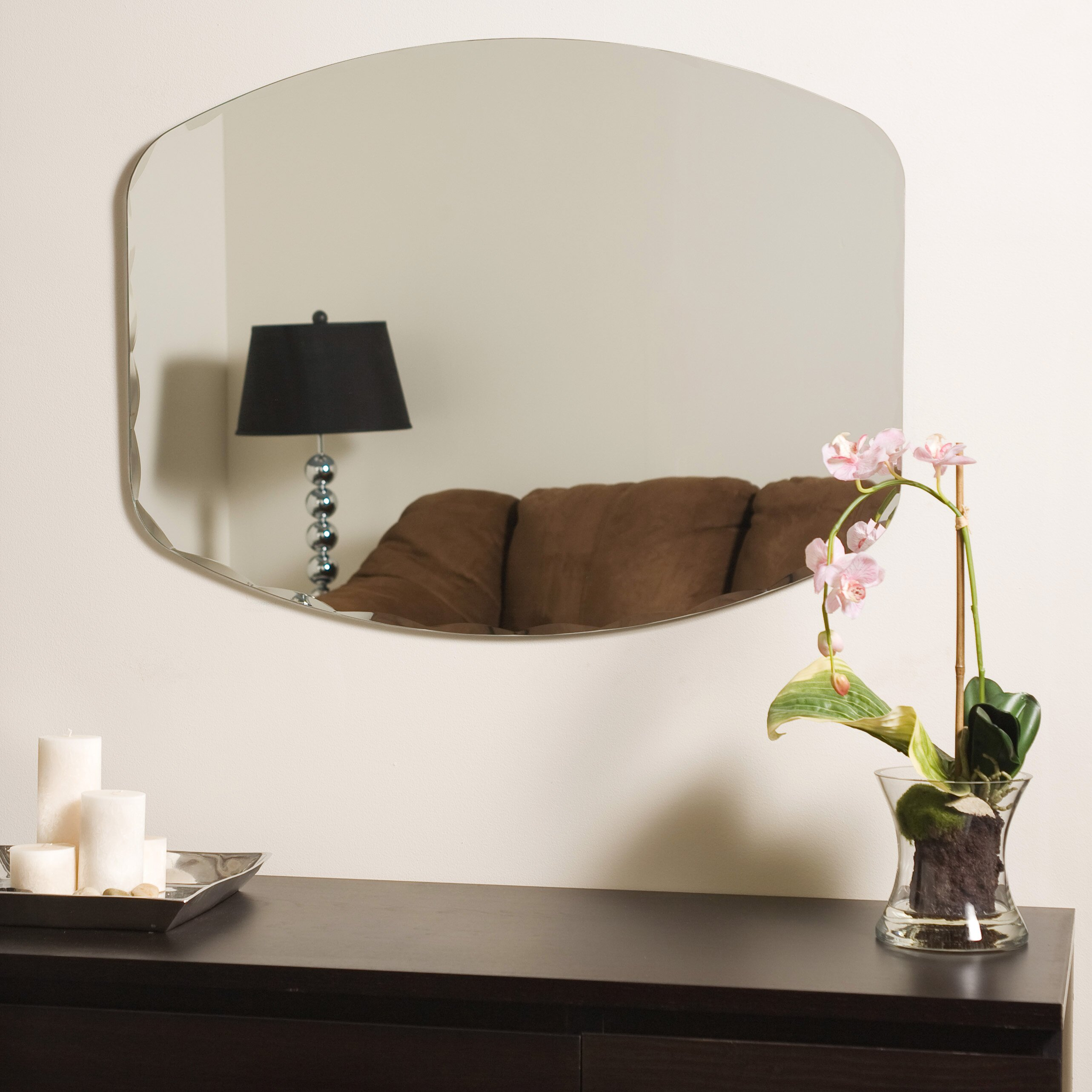 Varick gallery logan frameless wall mirror reviews wayfair for Frameless wall mirror