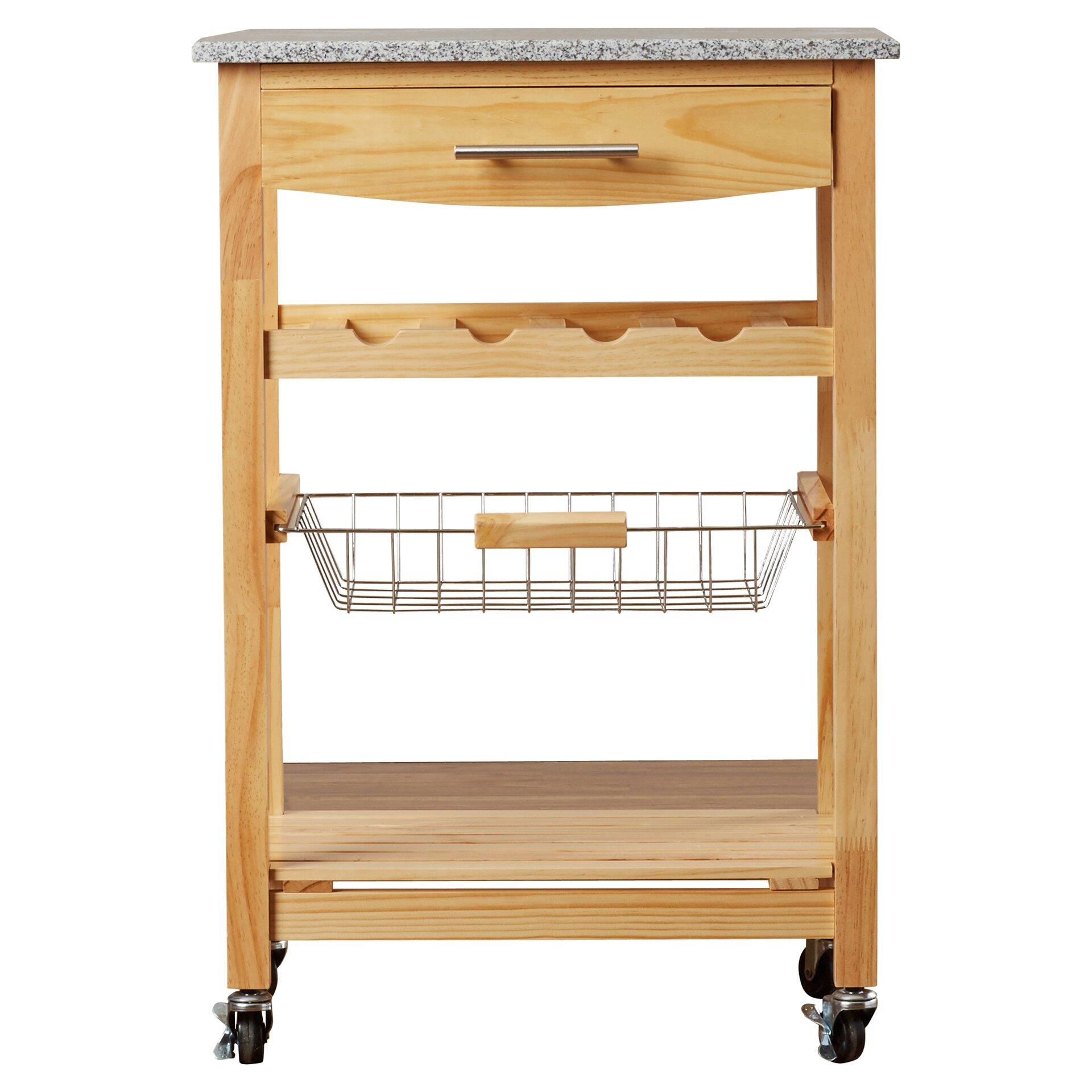 Varick Gallery Flint Kitchen Cart With Granite Top Reviews Wayfair
