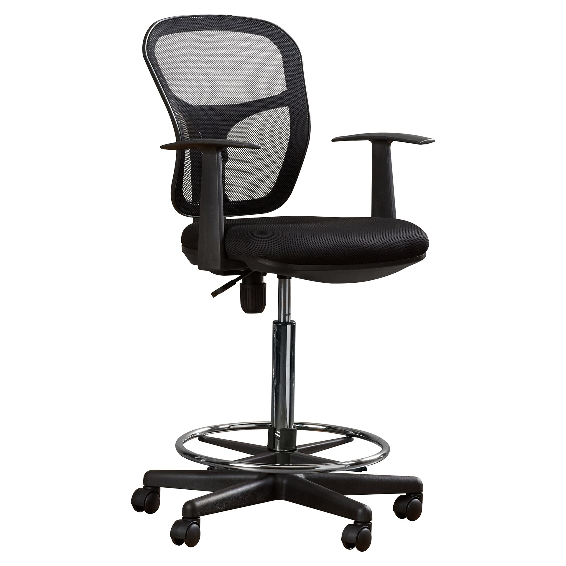 Varick Gallery Ninth Avenue Mid Back Mesh Drafting Chair With Arms Revi