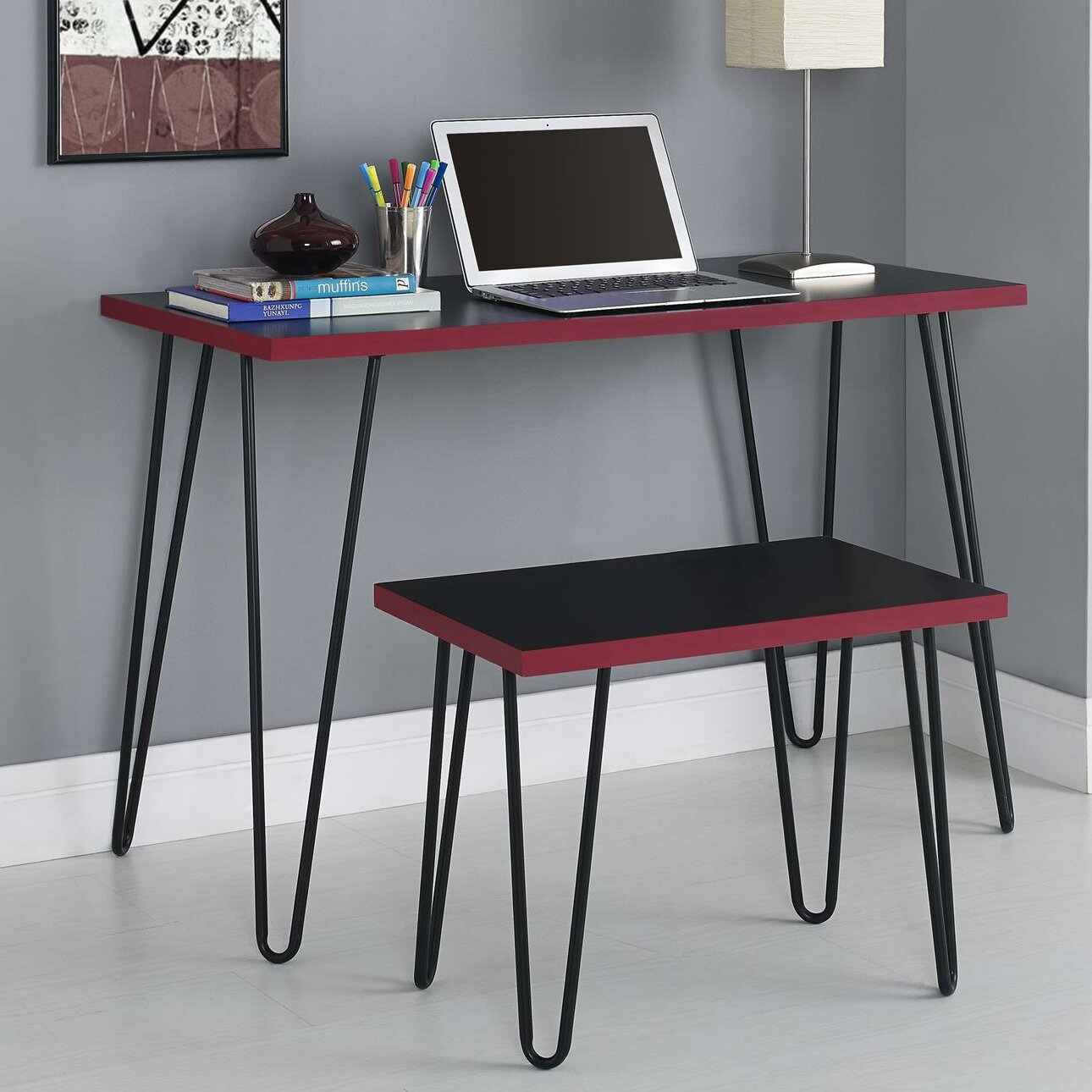 Superb img of Varick Gallery Bergland Writing Desk with Stool & Reviews Wayfair with #773540 color and 1290x1290 pixels