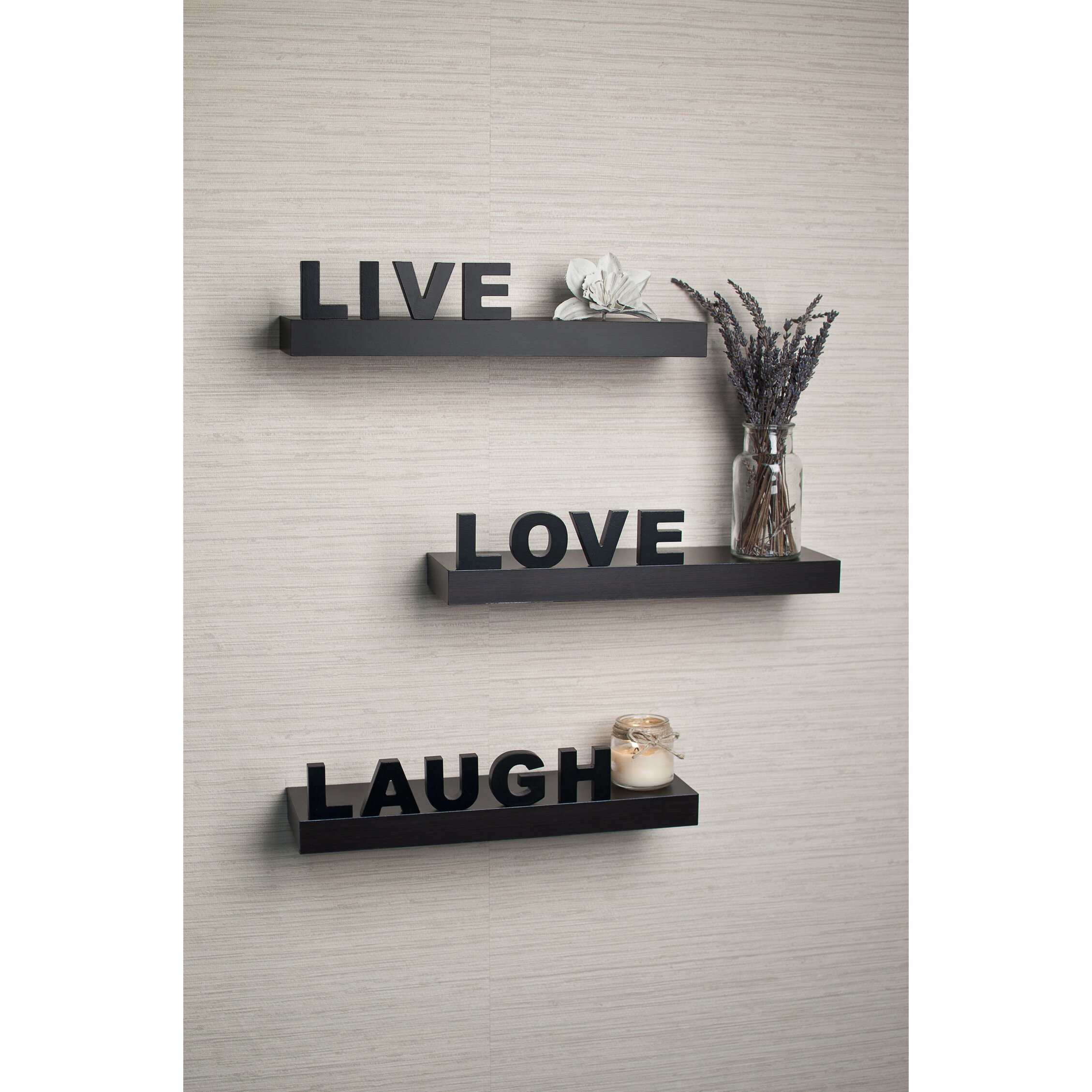 Varick Gallery 3 Piece Quot Live Love Laugh Quot Floating Shelf