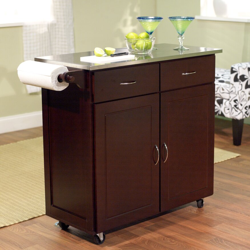 Brayden Studio Dayville Kitchen Cart with Stainless Steel Top & Rev