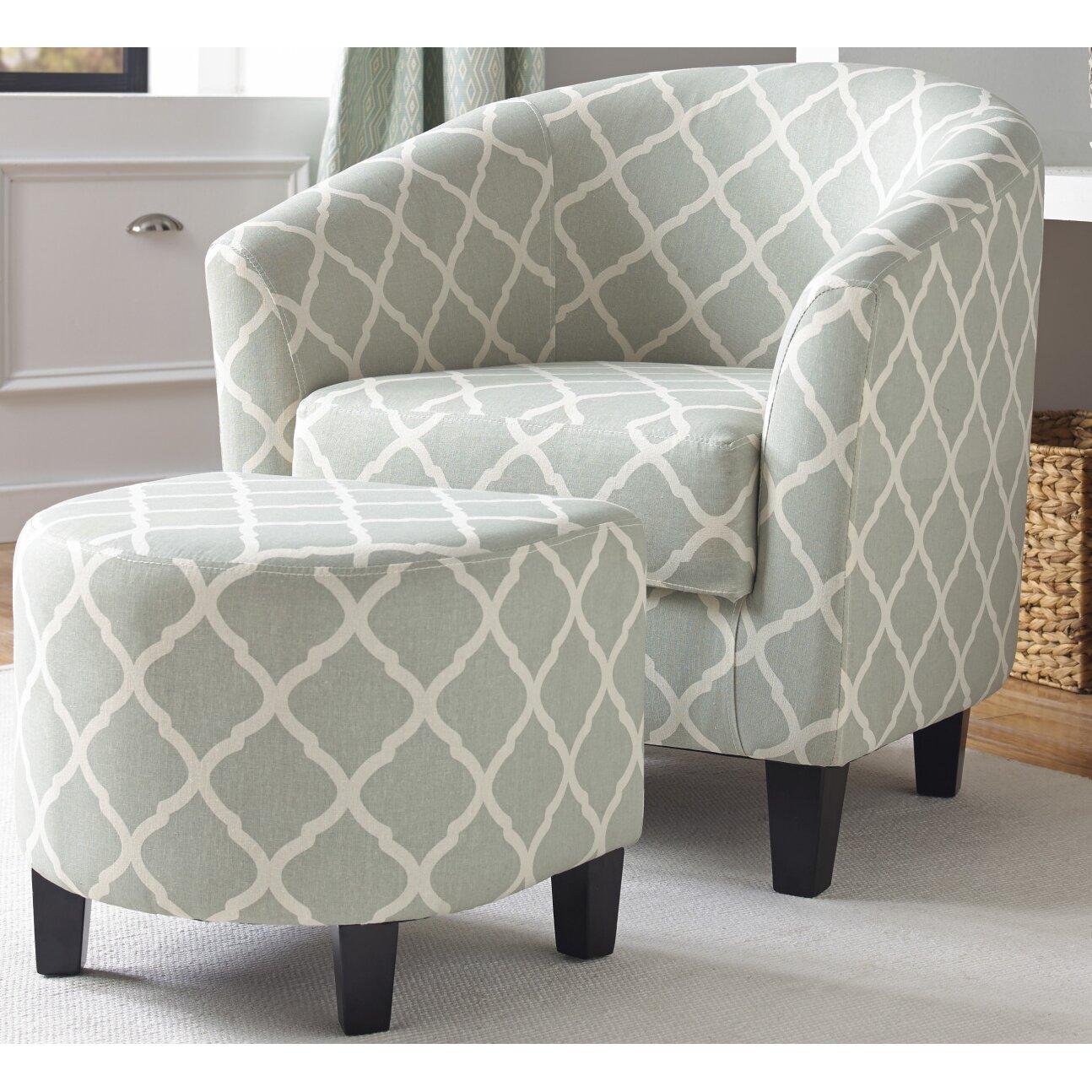 Brayden Studio Upholstered Barrel Chair And Ottoman Set
