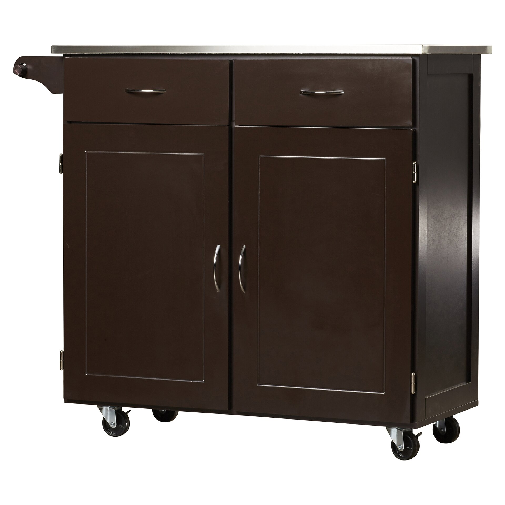 Cocina Kitchen Cart With Stainless Steel Top: Brayden Studio Dayville Large Kitchen Cart With Stainless