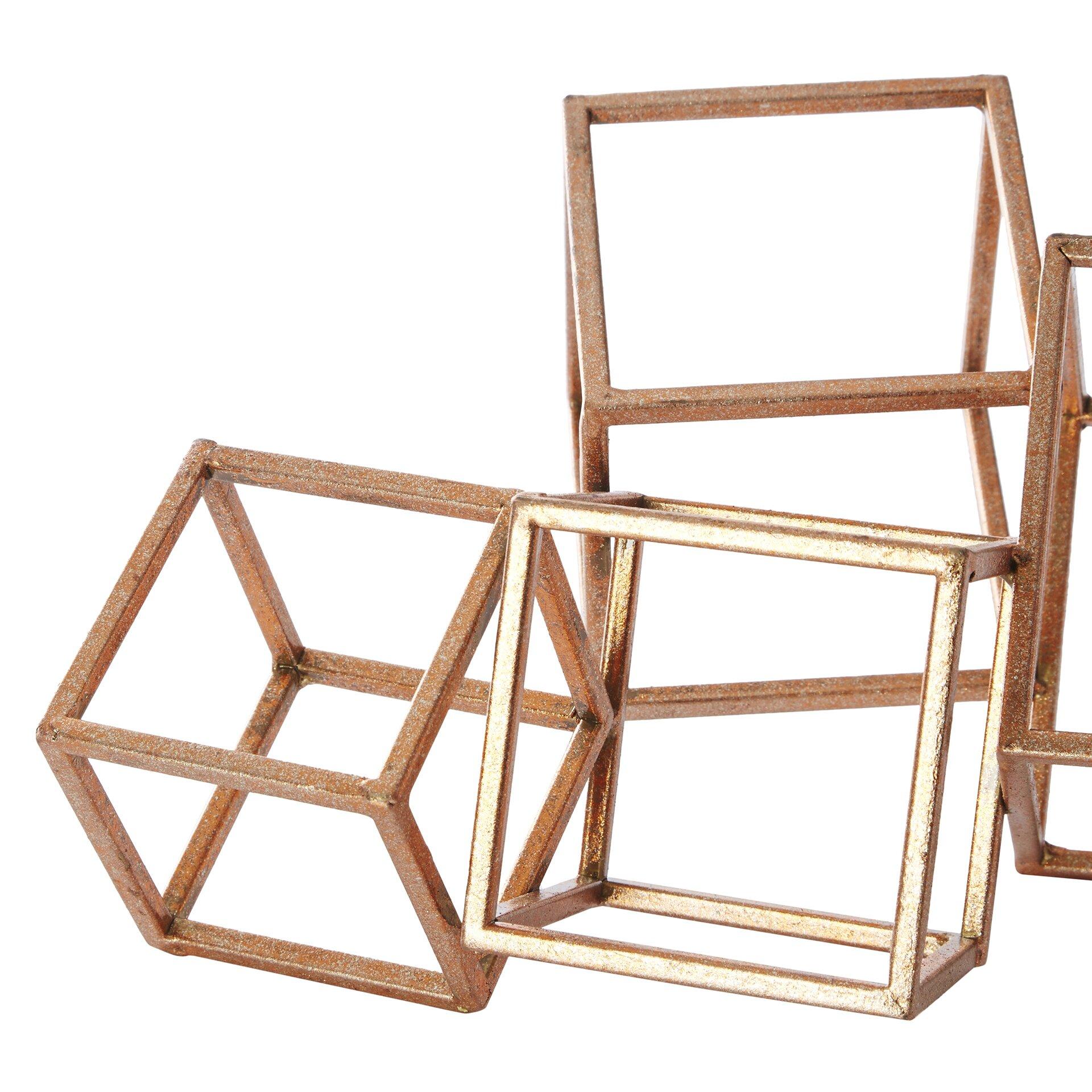 Brayden Studio Gold Metal Cube Table Sculpture & Reviews