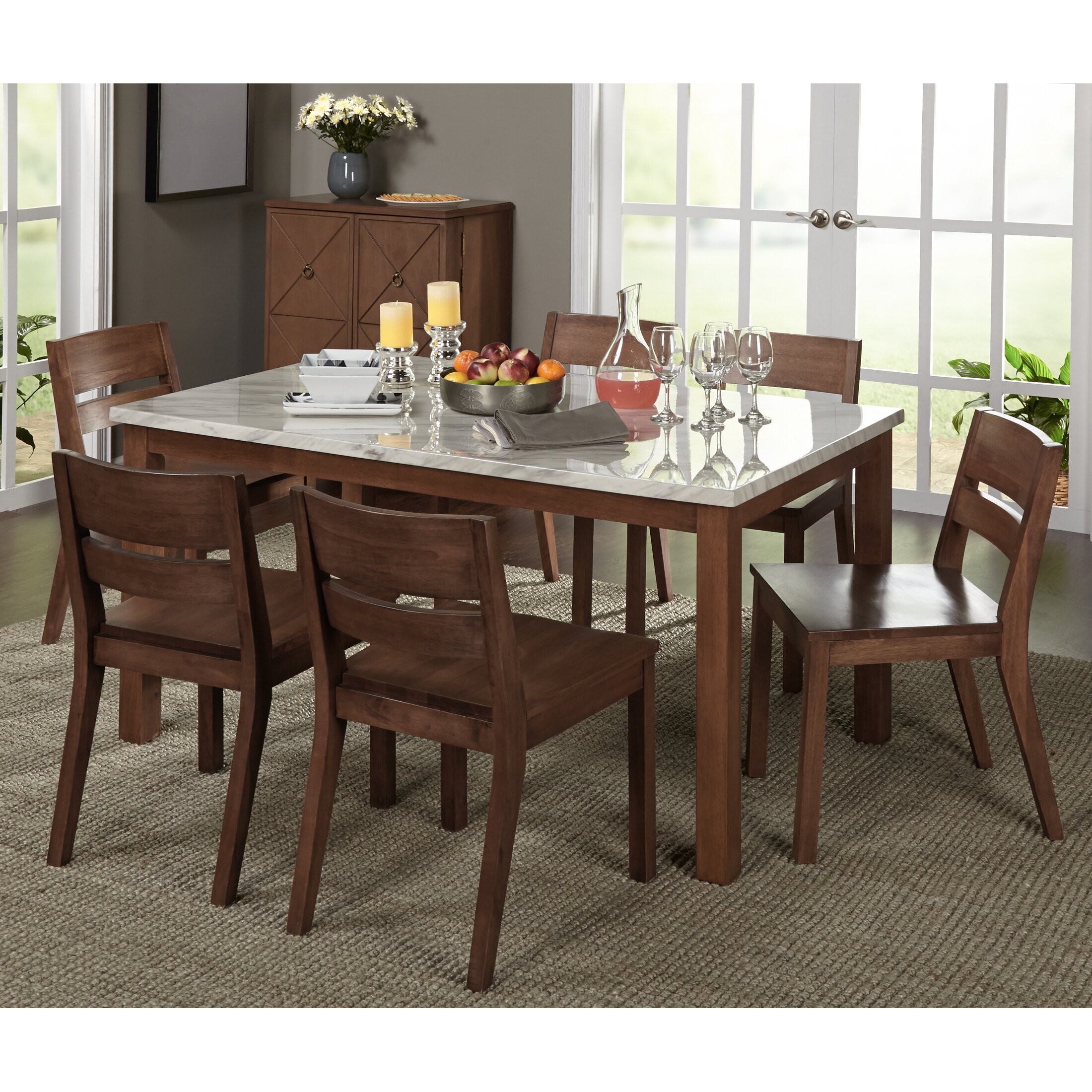 Brayden studio losey 7 piece dining set reviews wayfair for 2 piece dining room set