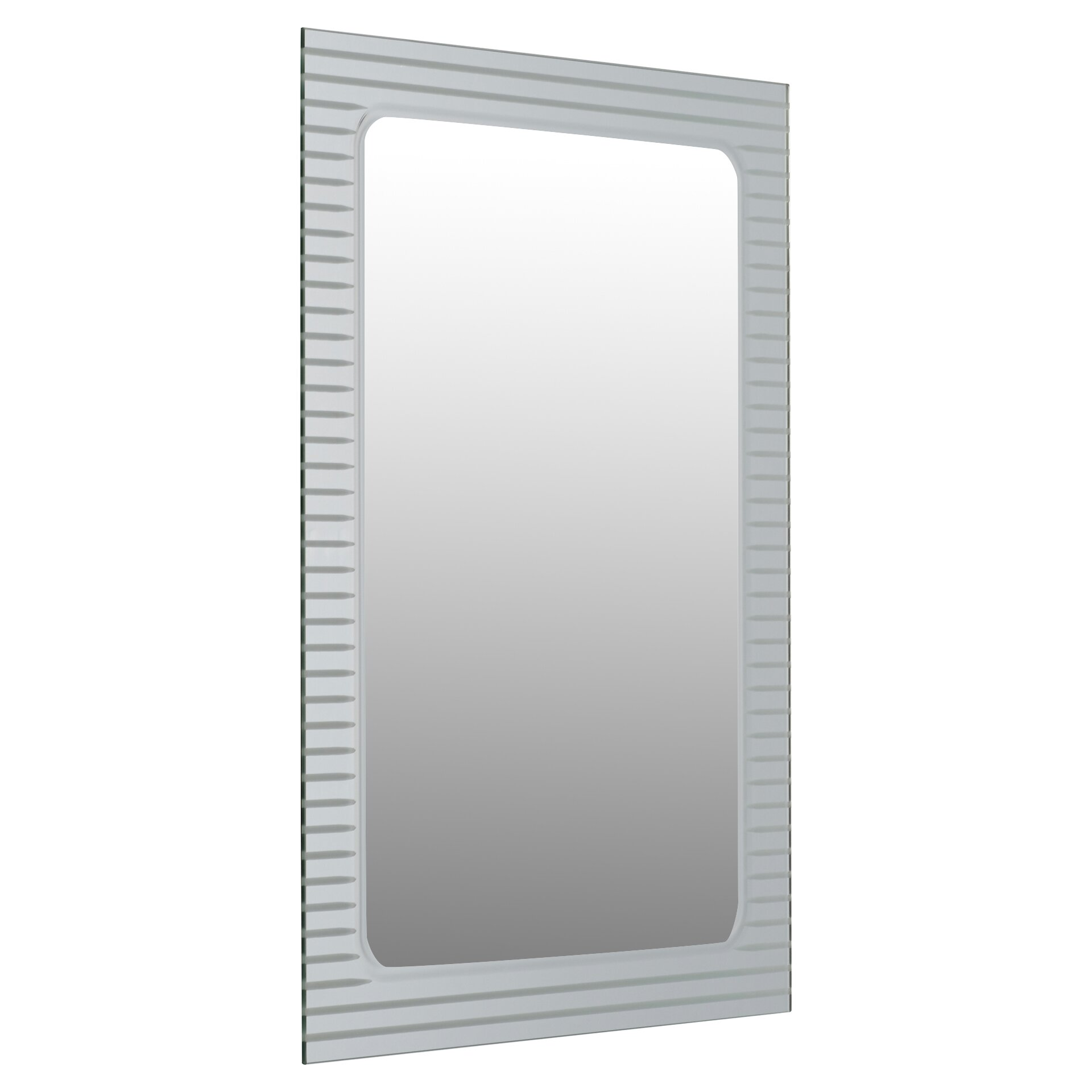 Brayden studio frameless v groove wall mirror reviews for Frameless wall mirror