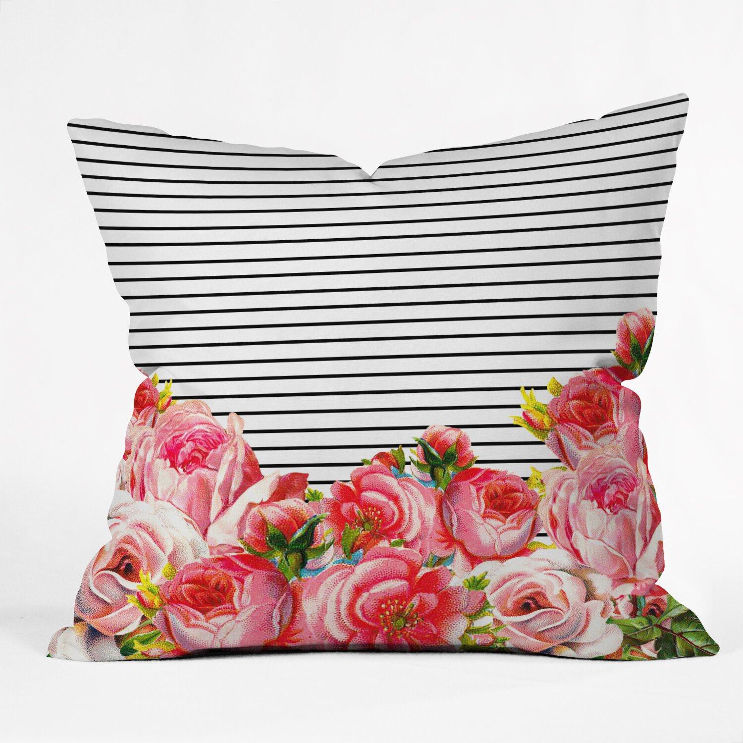 Decorative Pillows With Stripes : Brayden Studio Delaughter Bold Floral and Stripes Throw Pillow & Reviews Wayfair