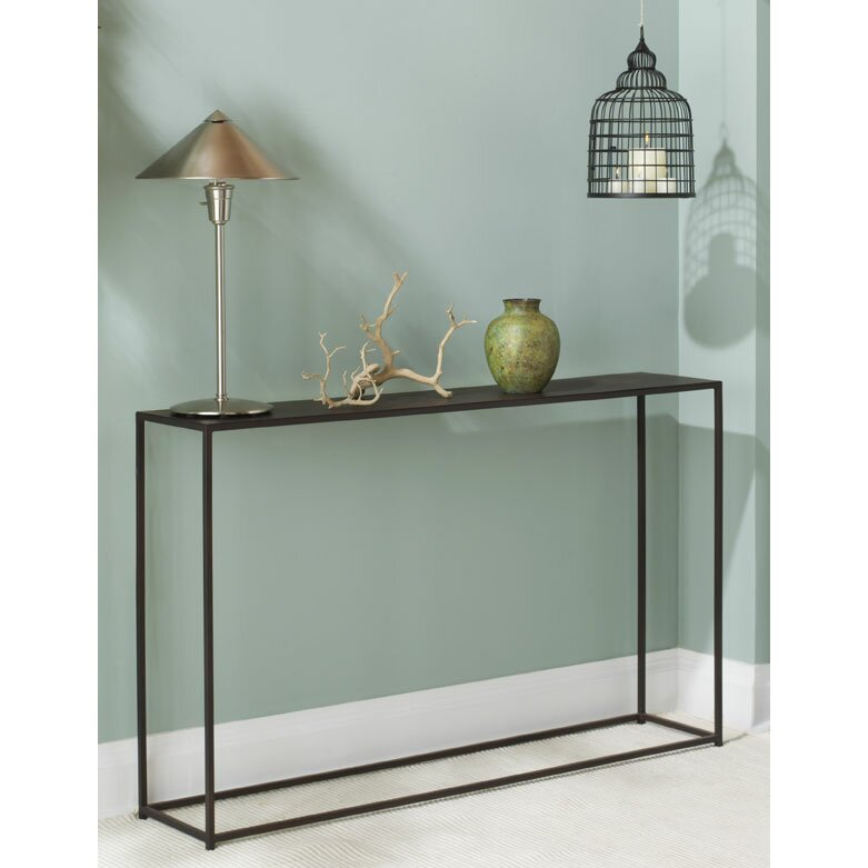 Brayden studio magers narrow console table reviews wayfair for Narrow console table modern