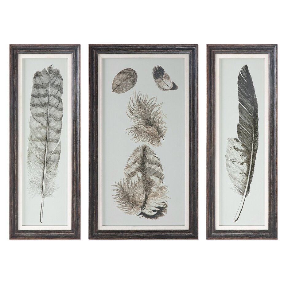 Brayden studio feather study prints 3 piece framed graphic for 3 piece wall art