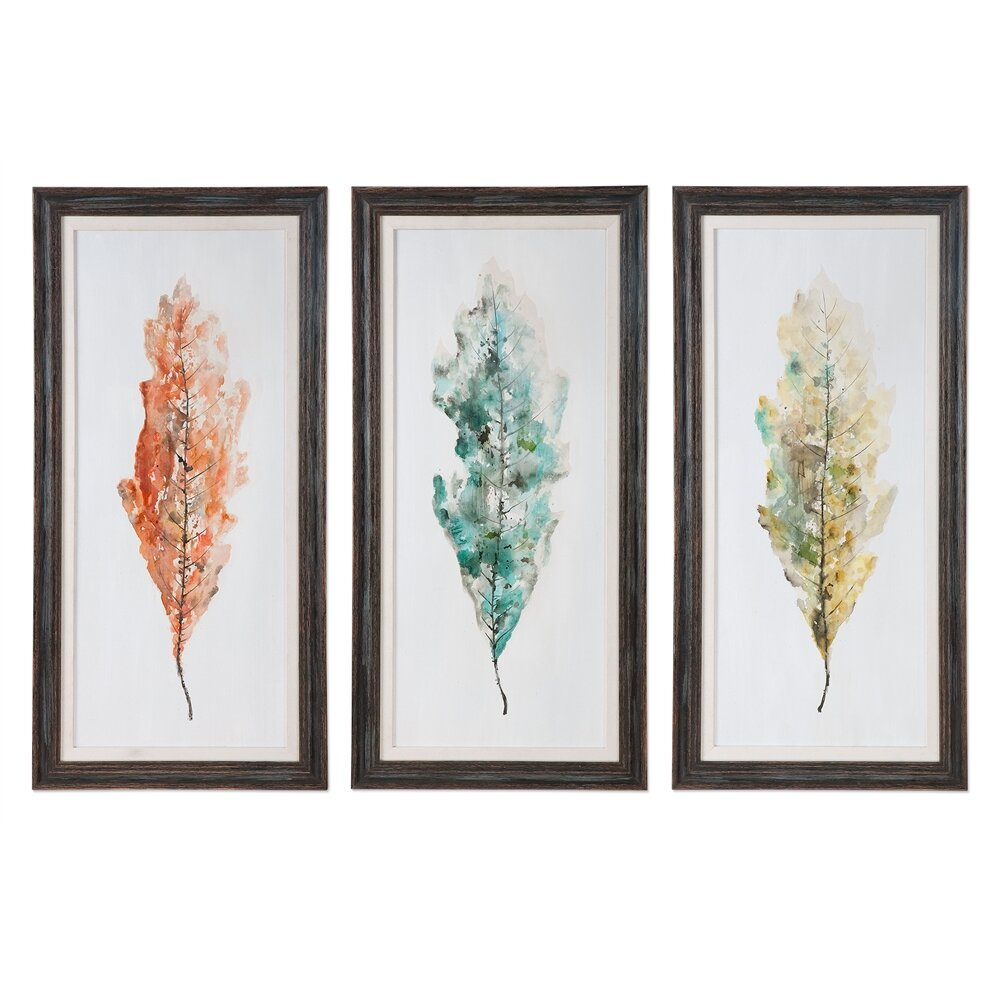 Brayden Studio Tricolor Leaves Abstract Art 3 Piece Framed