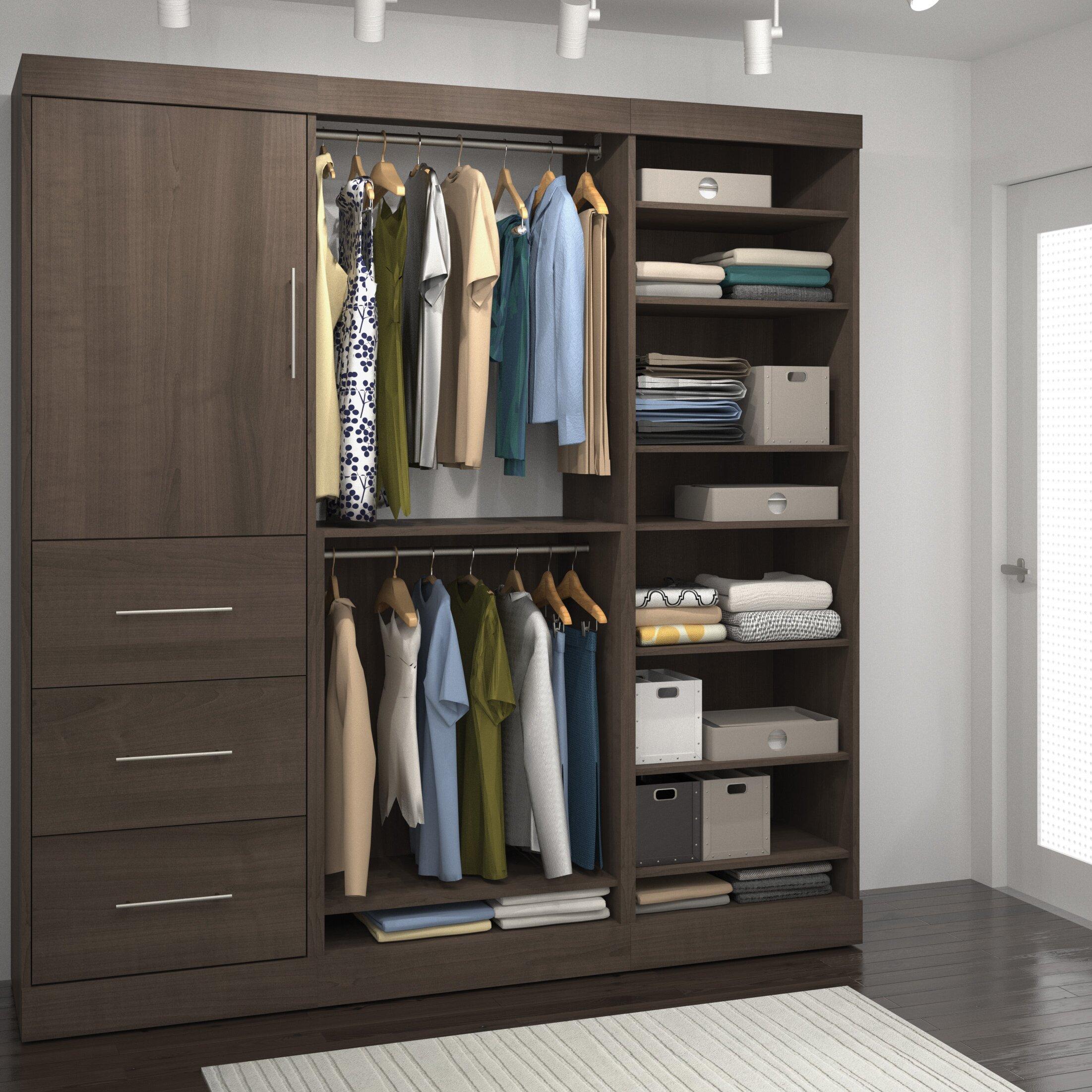 brayden studio truett 80 wide closet system reviews wayfair. Black Bedroom Furniture Sets. Home Design Ideas