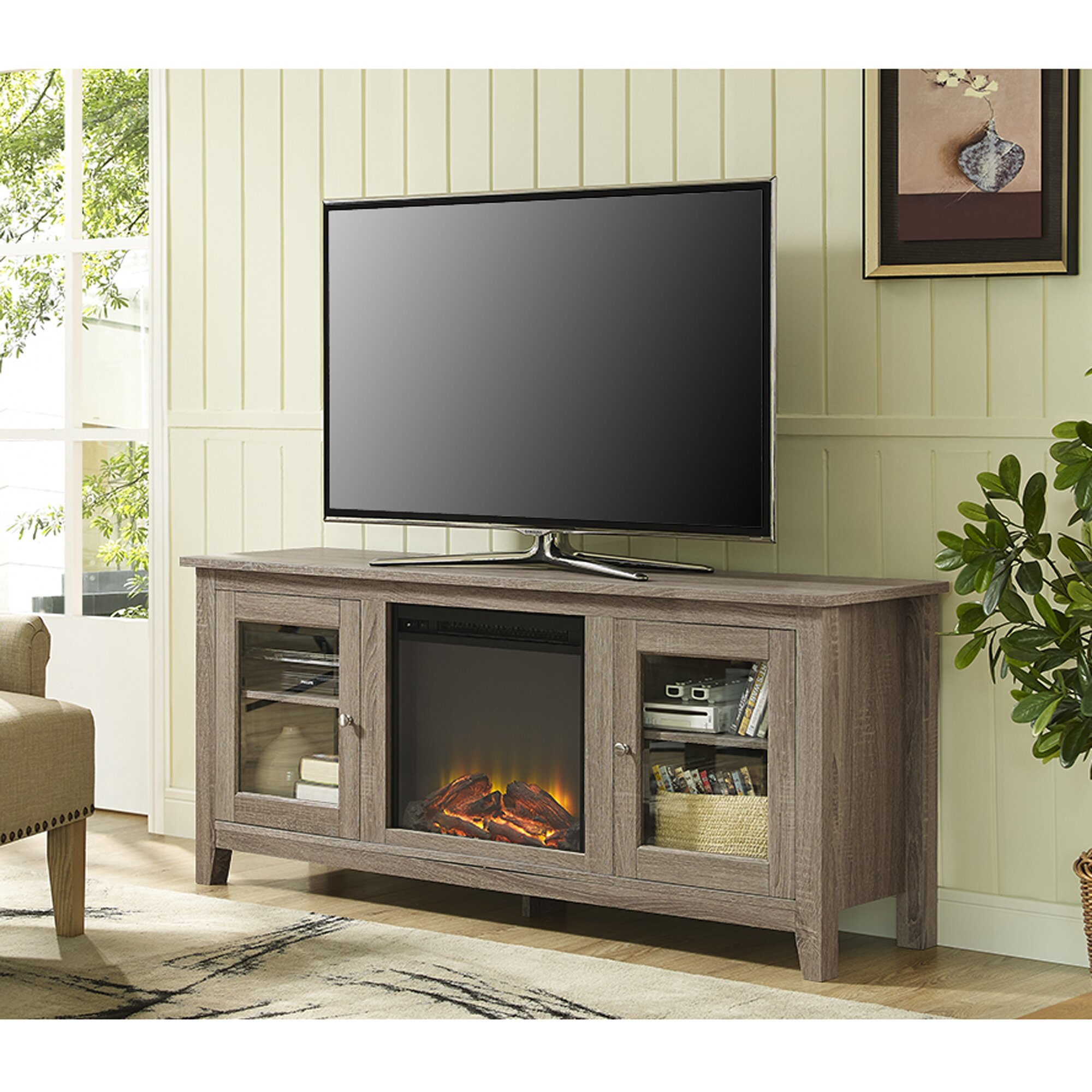 brayden studio andy tv stand with electric fireplace reviews wayfair. Black Bedroom Furniture Sets. Home Design Ideas