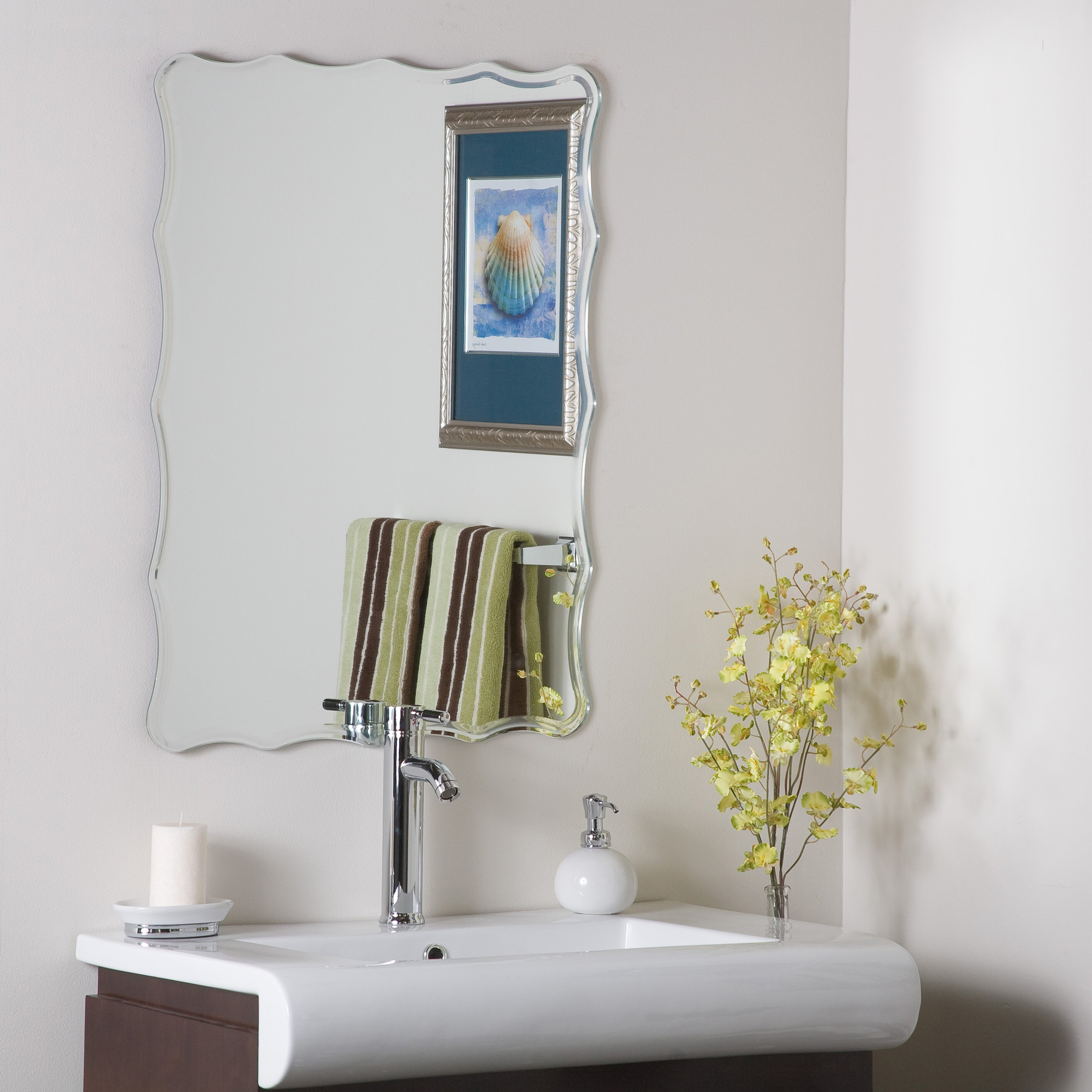 wade logan redcliffe frameless wall mirror reviews wayfair