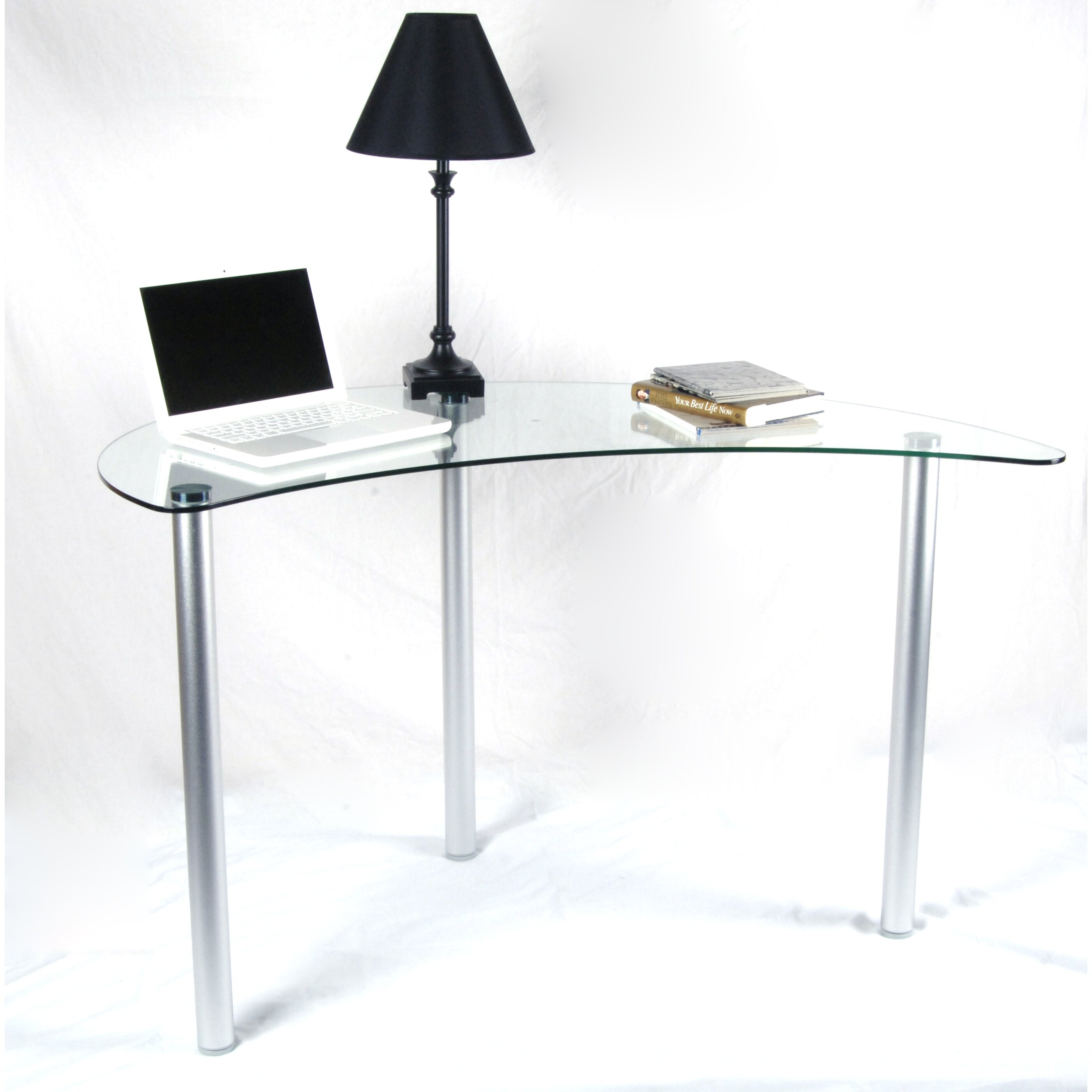 Wade Logan Barton Writing Desk with Glass Top & Reviews