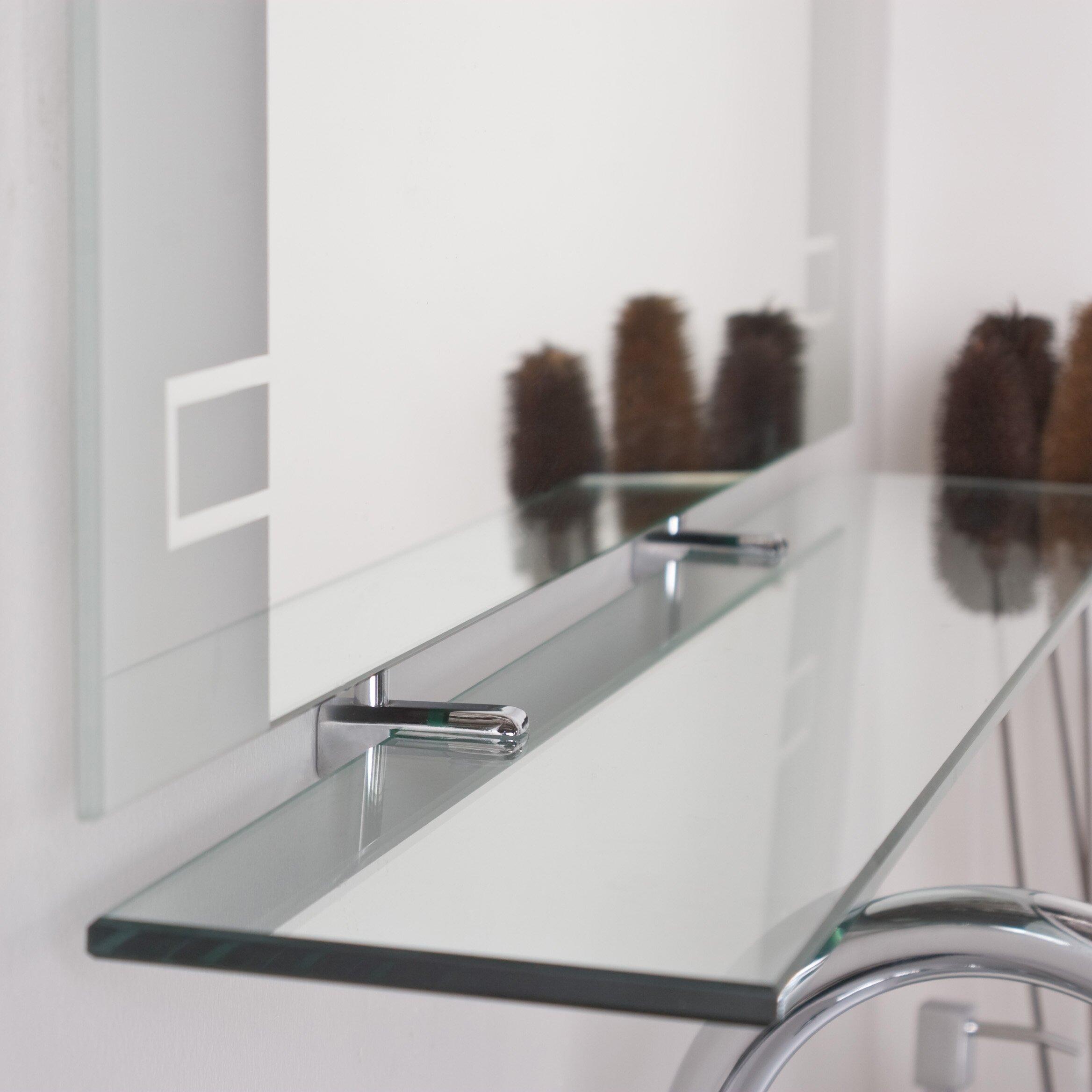 wade logan frameless wall mirror with shelf reviews. Black Bedroom Furniture Sets. Home Design Ideas