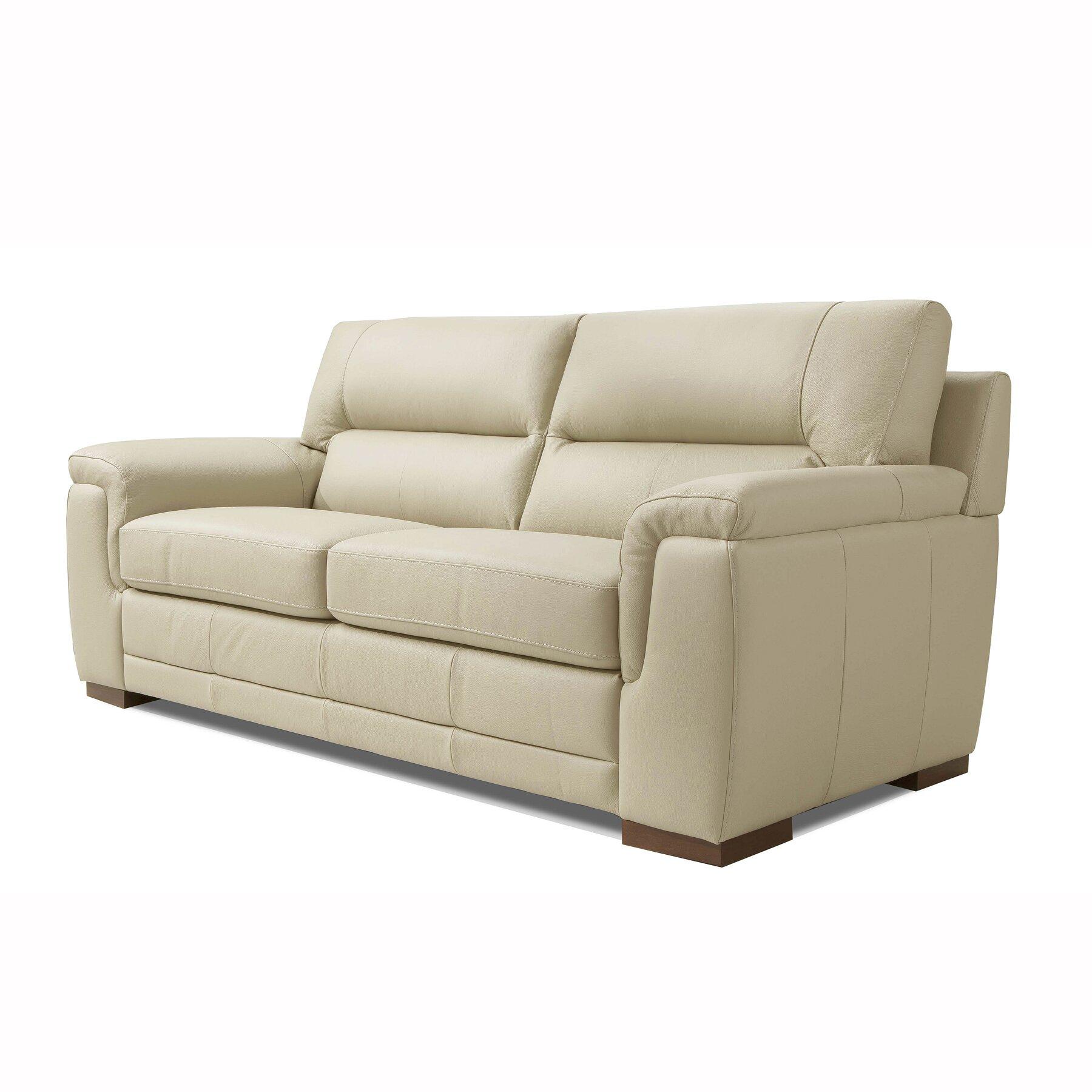 Wade Logan Albany Leather 3 Seater Sofa Wayfair