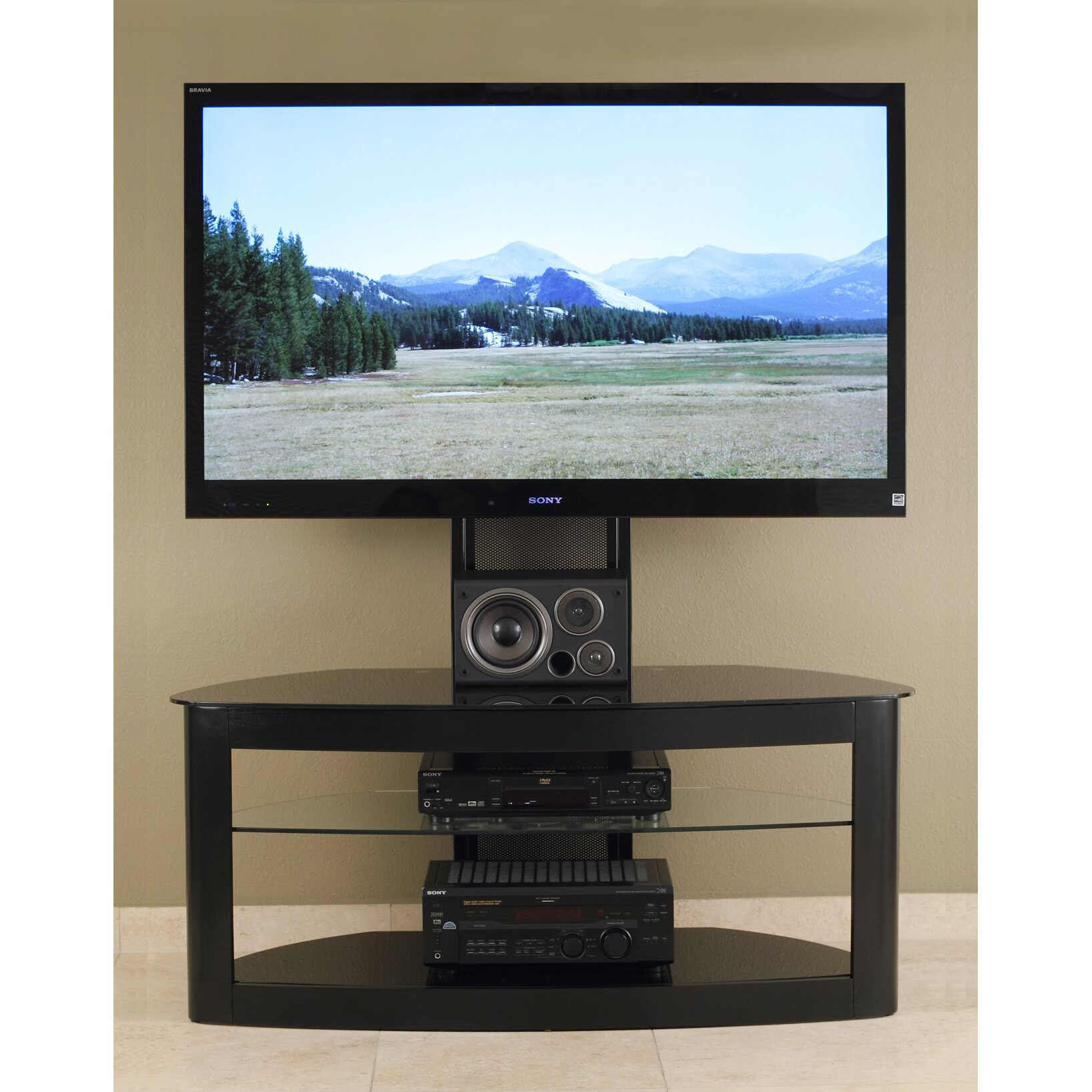 wade logan barcroft flat panel tv stand reviews wayfair. Black Bedroom Furniture Sets. Home Design Ideas