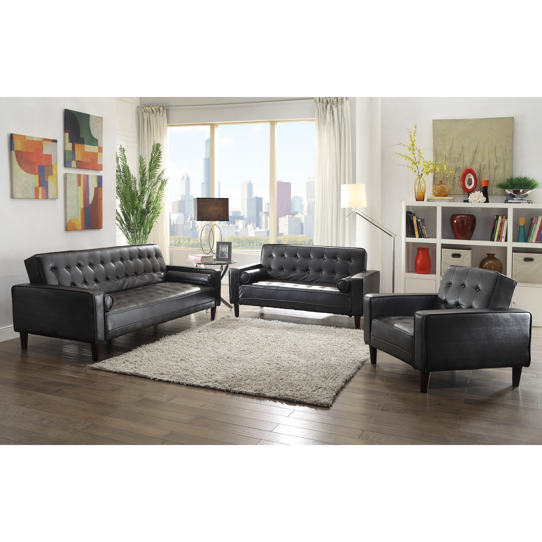 Wade Logan Derek Faux Leather Sleeper Sofa Reviews Wayfair