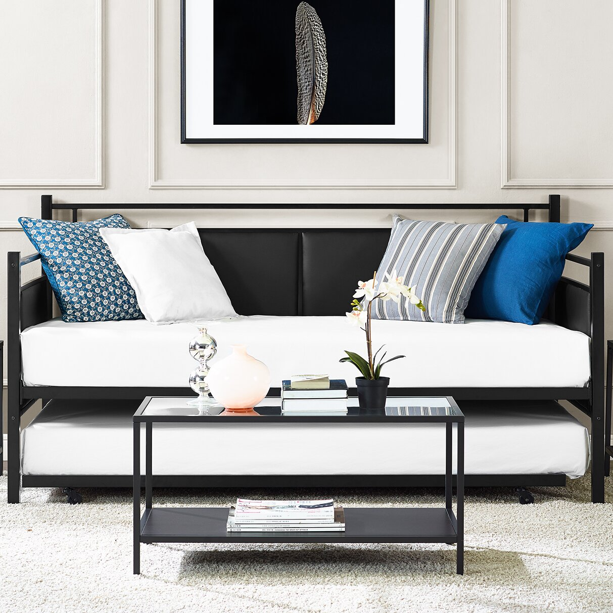 wade logan petaluma metal and upholstered daybed with trundle reviews wayfair. Black Bedroom Furniture Sets. Home Design Ideas