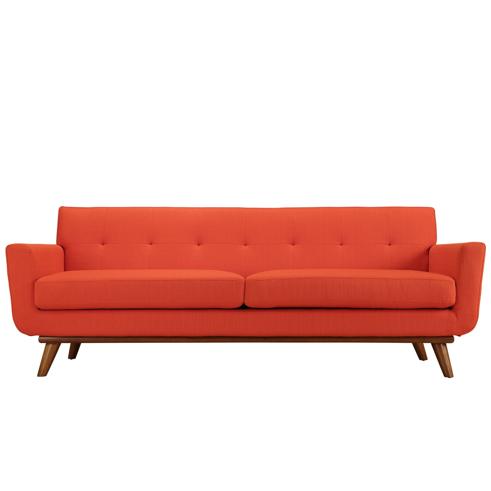 Corrigan studio saginaw upholstered sofa reviews wayfair for Inexpensive modern sofa