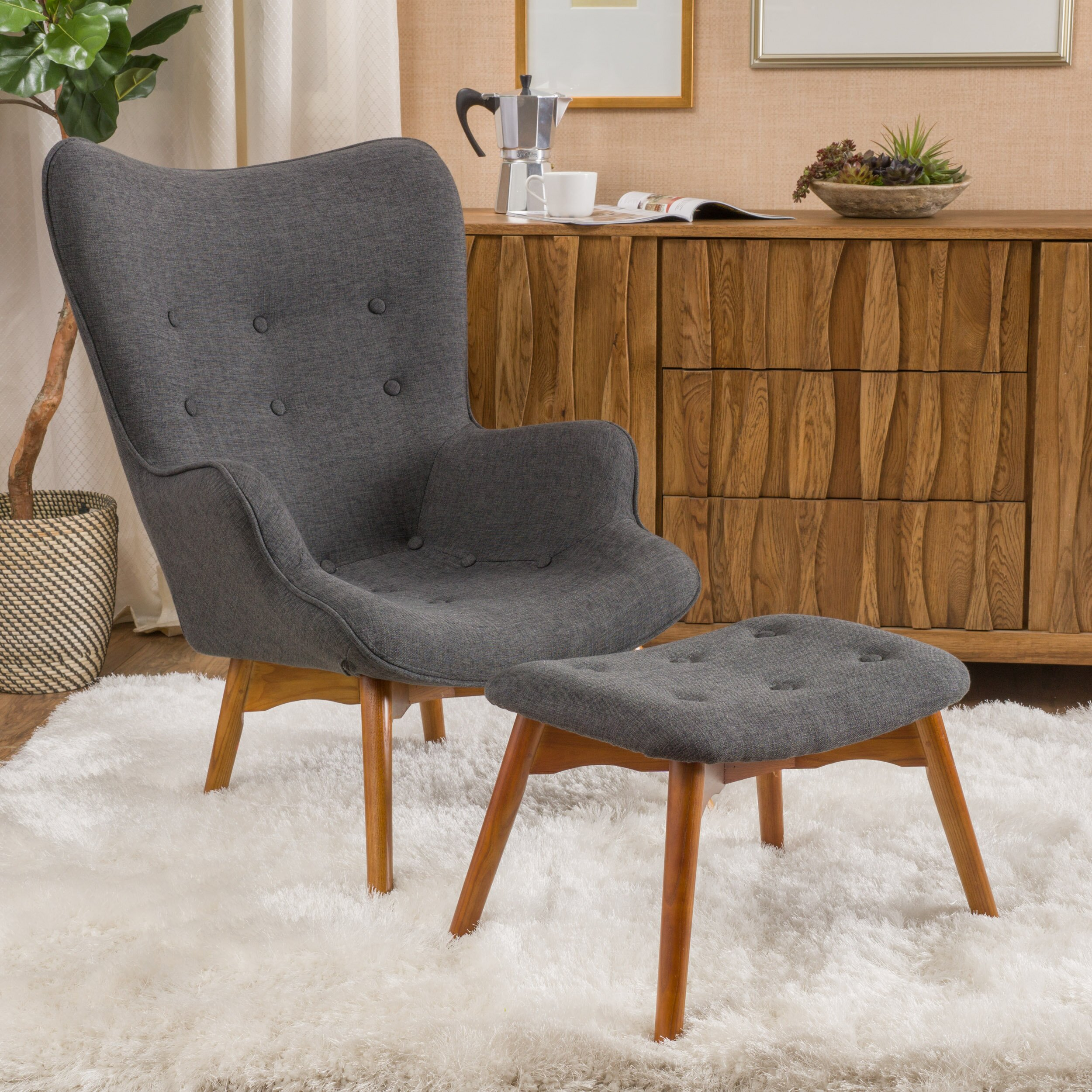 Langley Street Canyon Vista Mid Century Accent Chair Set