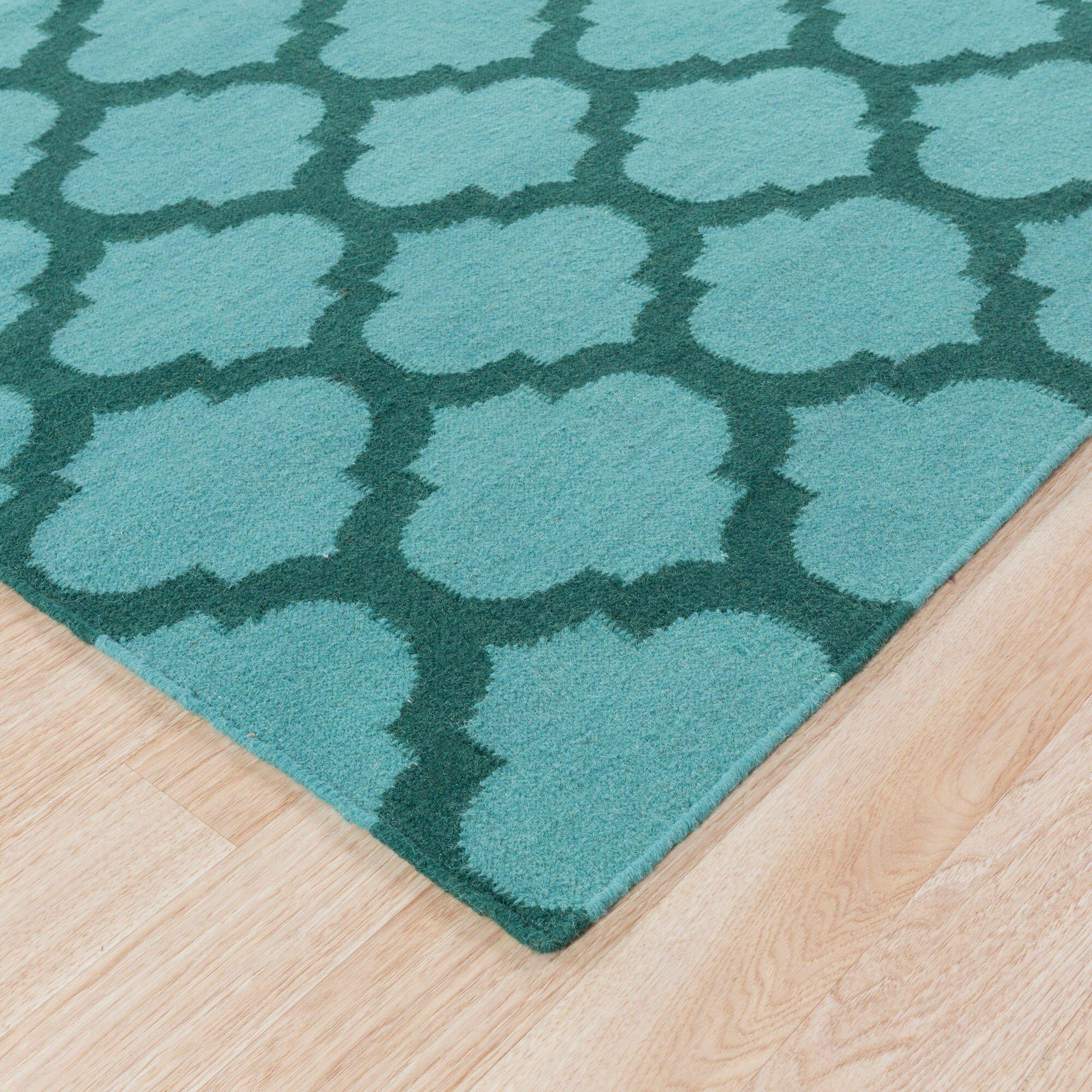 langley street ash hand woven teal dark green area rug reviews wayfair. Black Bedroom Furniture Sets. Home Design Ideas