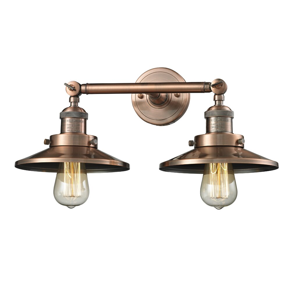 Innovations Lighting 2 Light Railroad Shade Wall Sconce