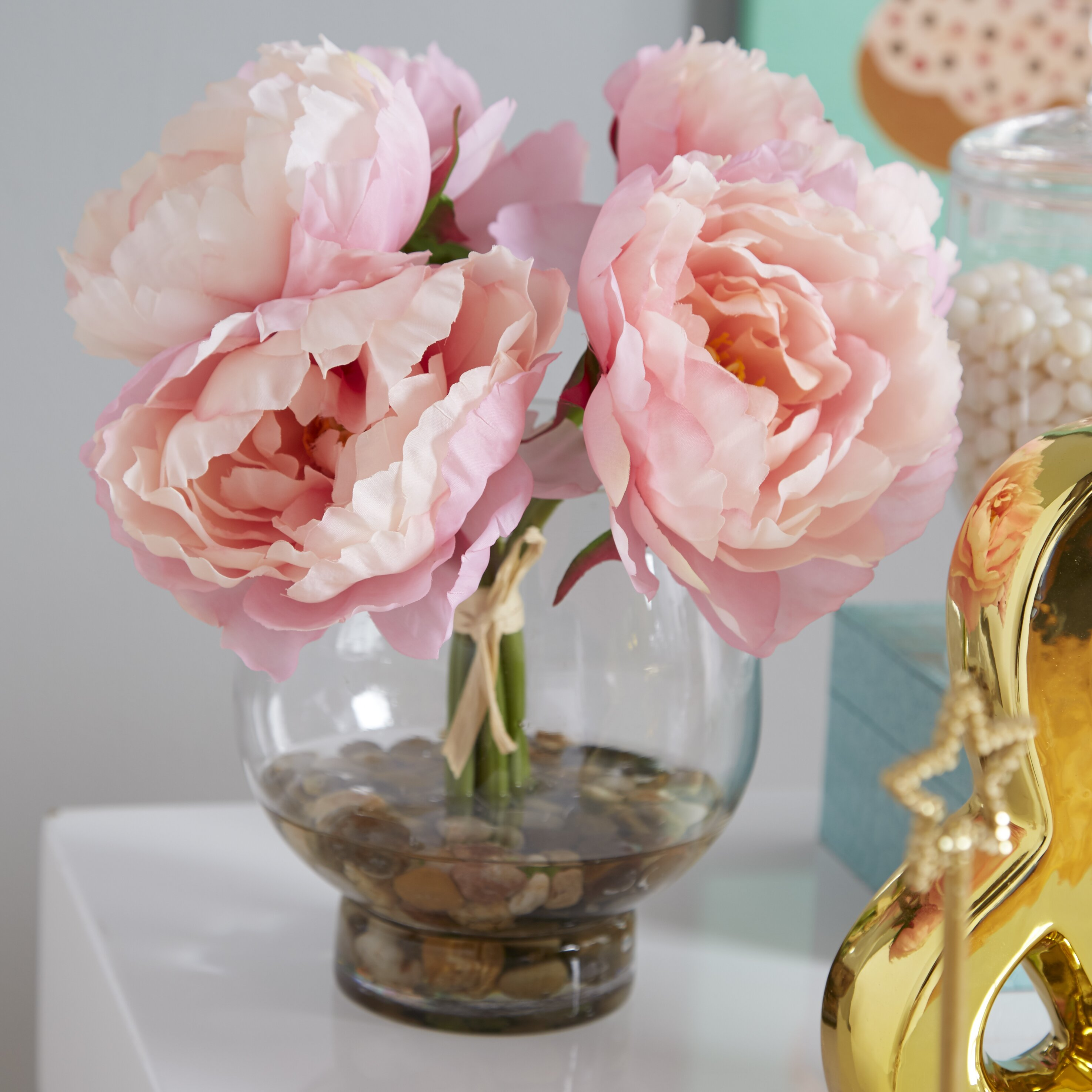 Lcgflorals Peonies In A Glass Vase With River Rocks And