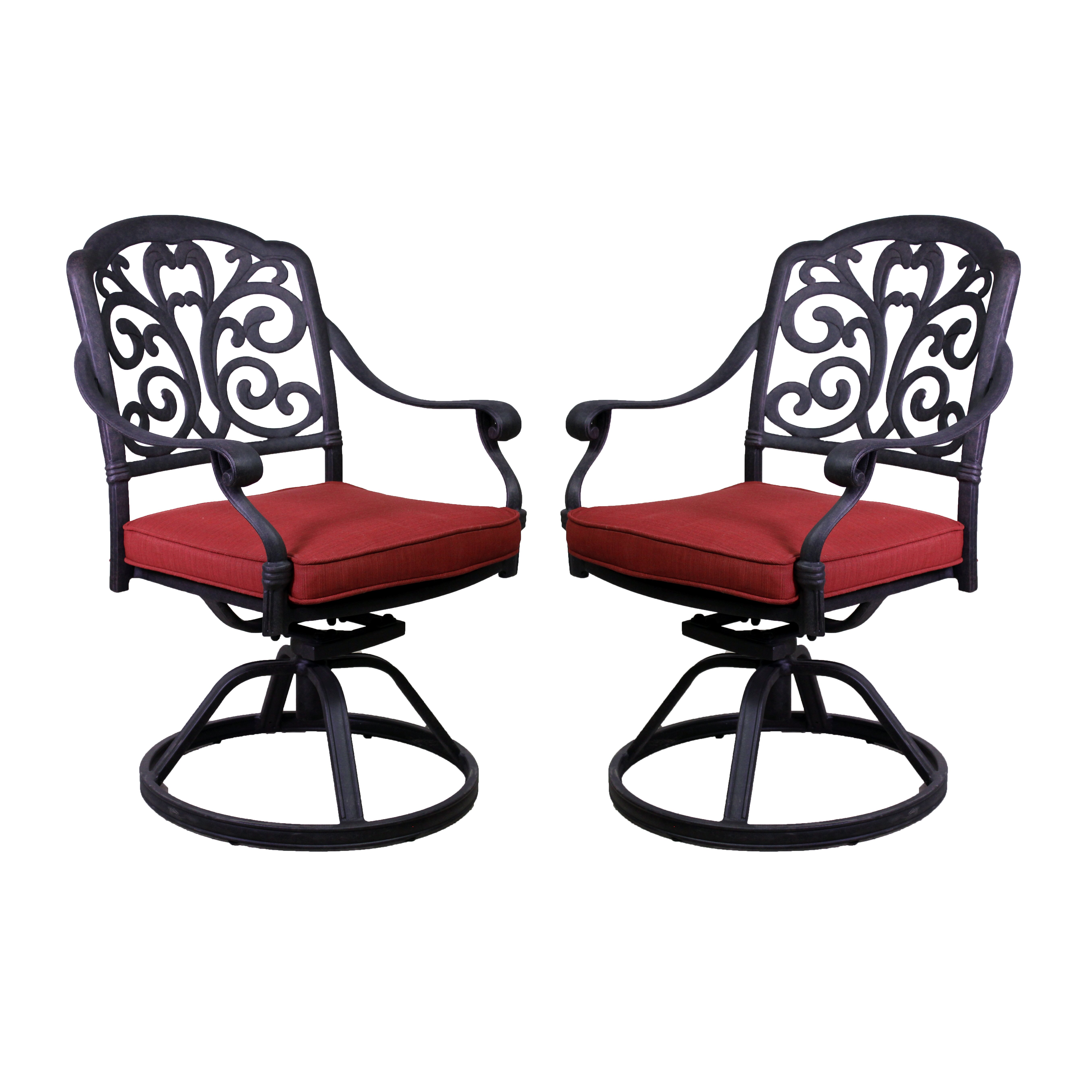 California Outdoor Designs Roma Swivel Rocking Chair Set with Dupione ...