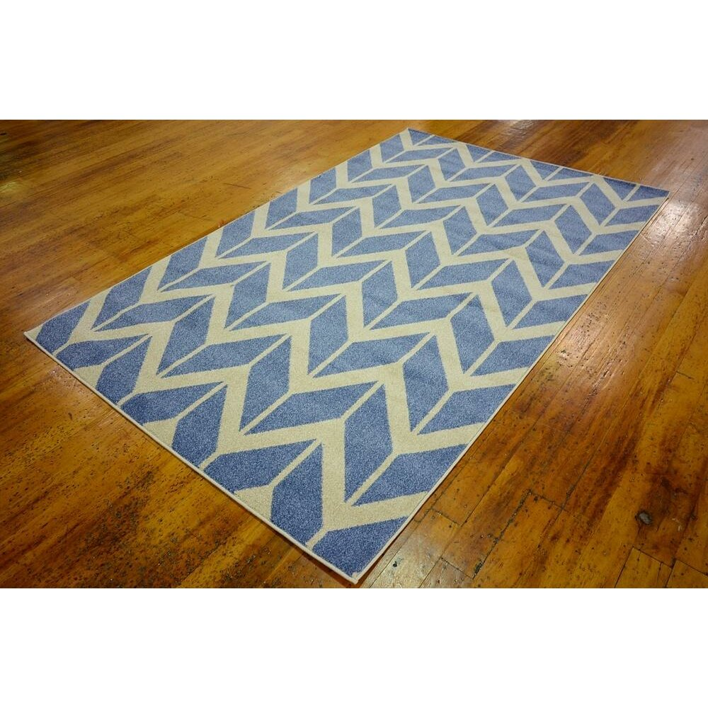 Chevron Kitchen Rug: Unique Loom Chevron Blue Area Rug & Reviews