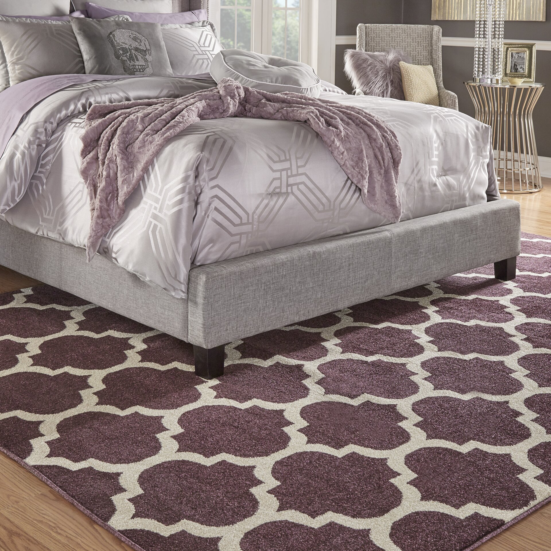 Purple Rug: Unique Loom Trellis Purple Area Rug & Reviews