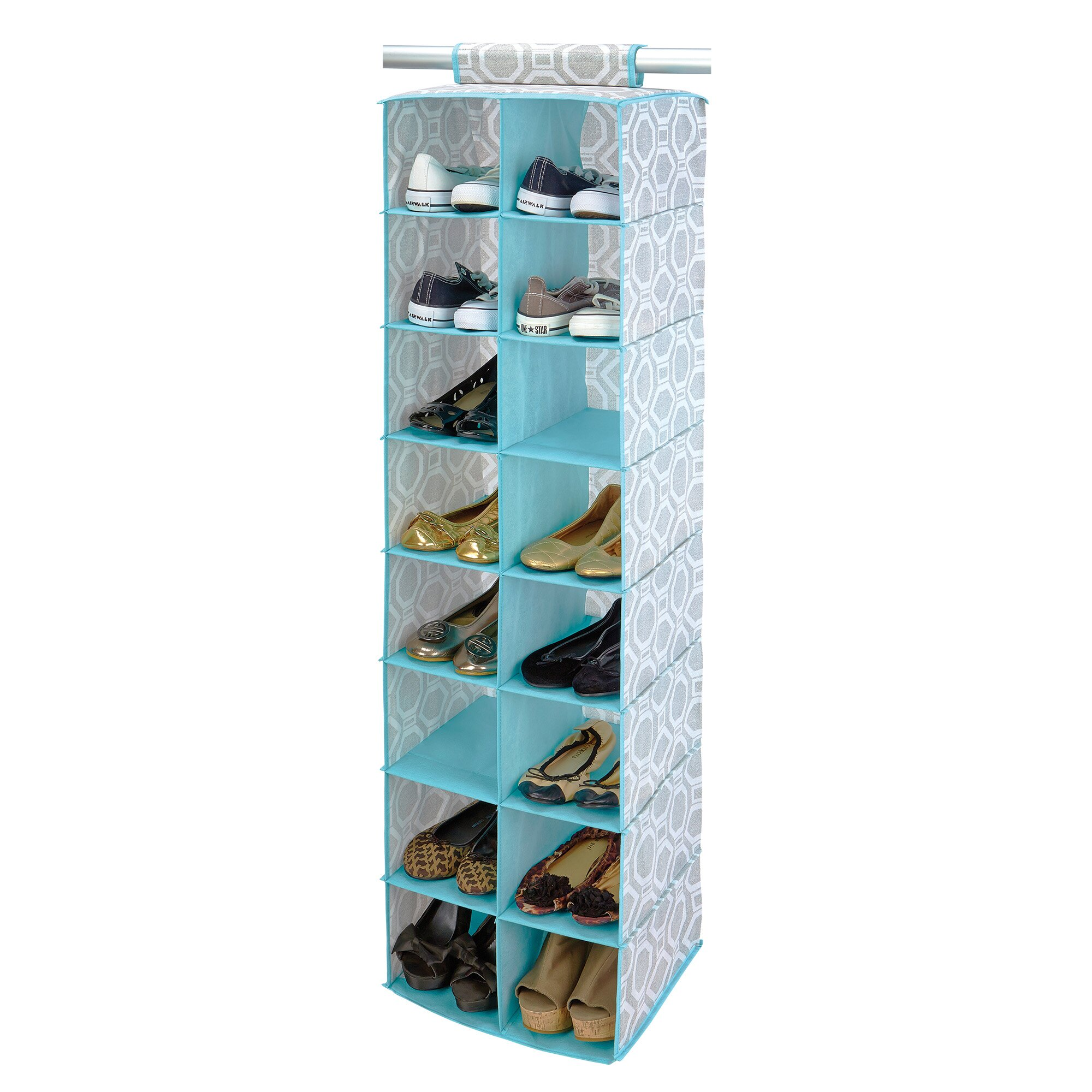 Closet Candie Dove 16 Compartment Hanging Shoe Organizer