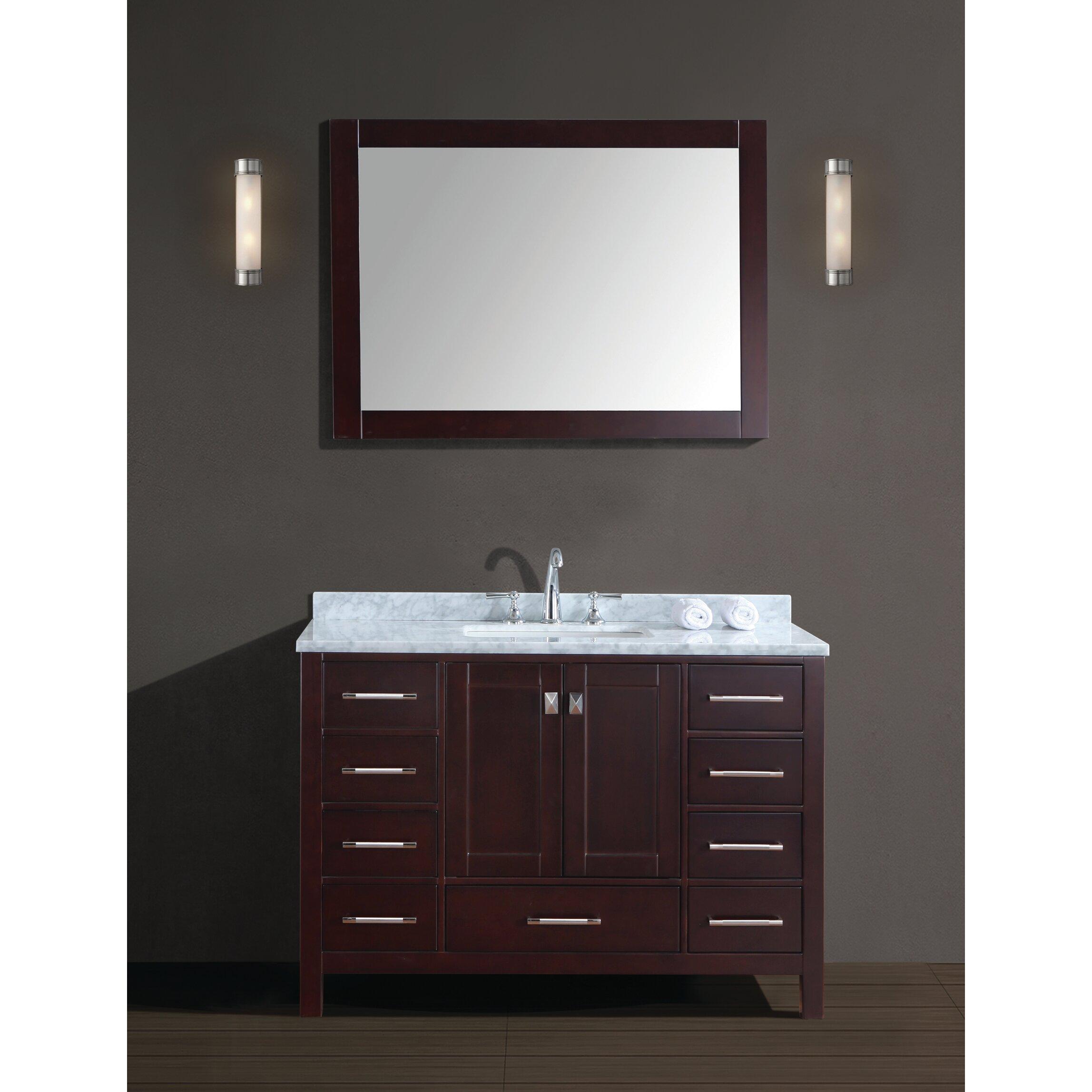 Ari kitchen bath bella sp 48 single bathroom vanity set for Bathroom mirror set