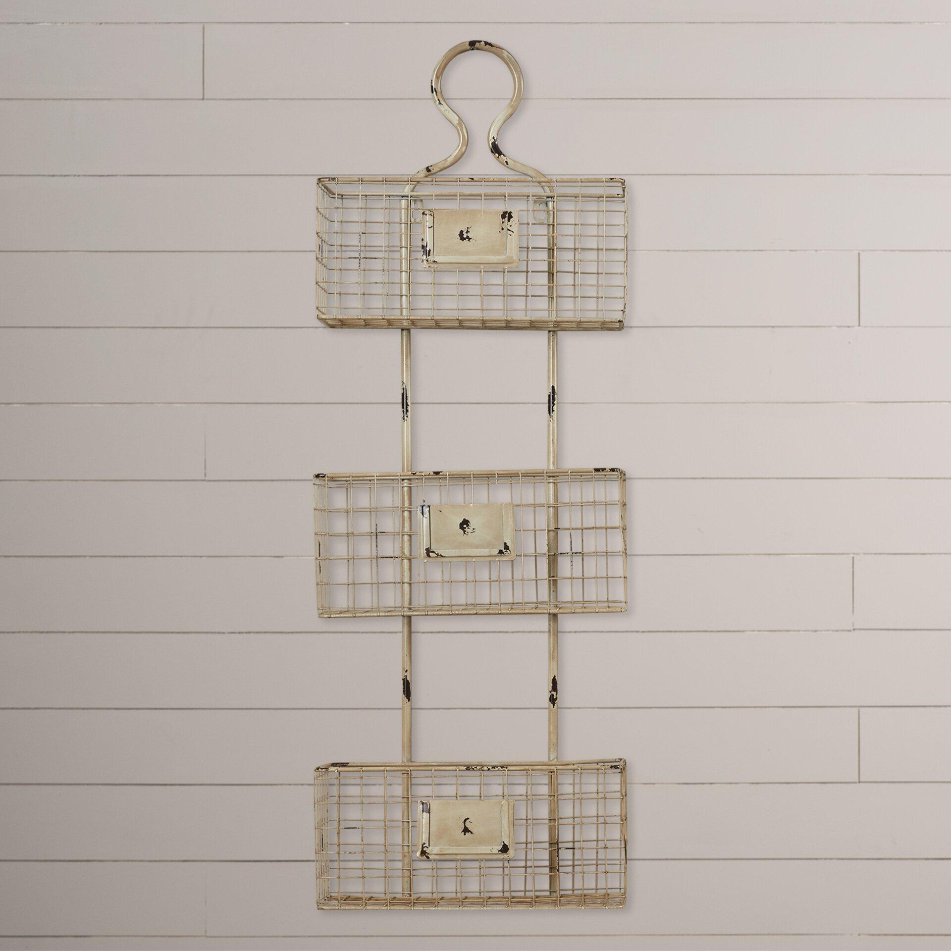 lark manor 3 tier wire basket wall shelf reviews wayfair. Black Bedroom Furniture Sets. Home Design Ideas