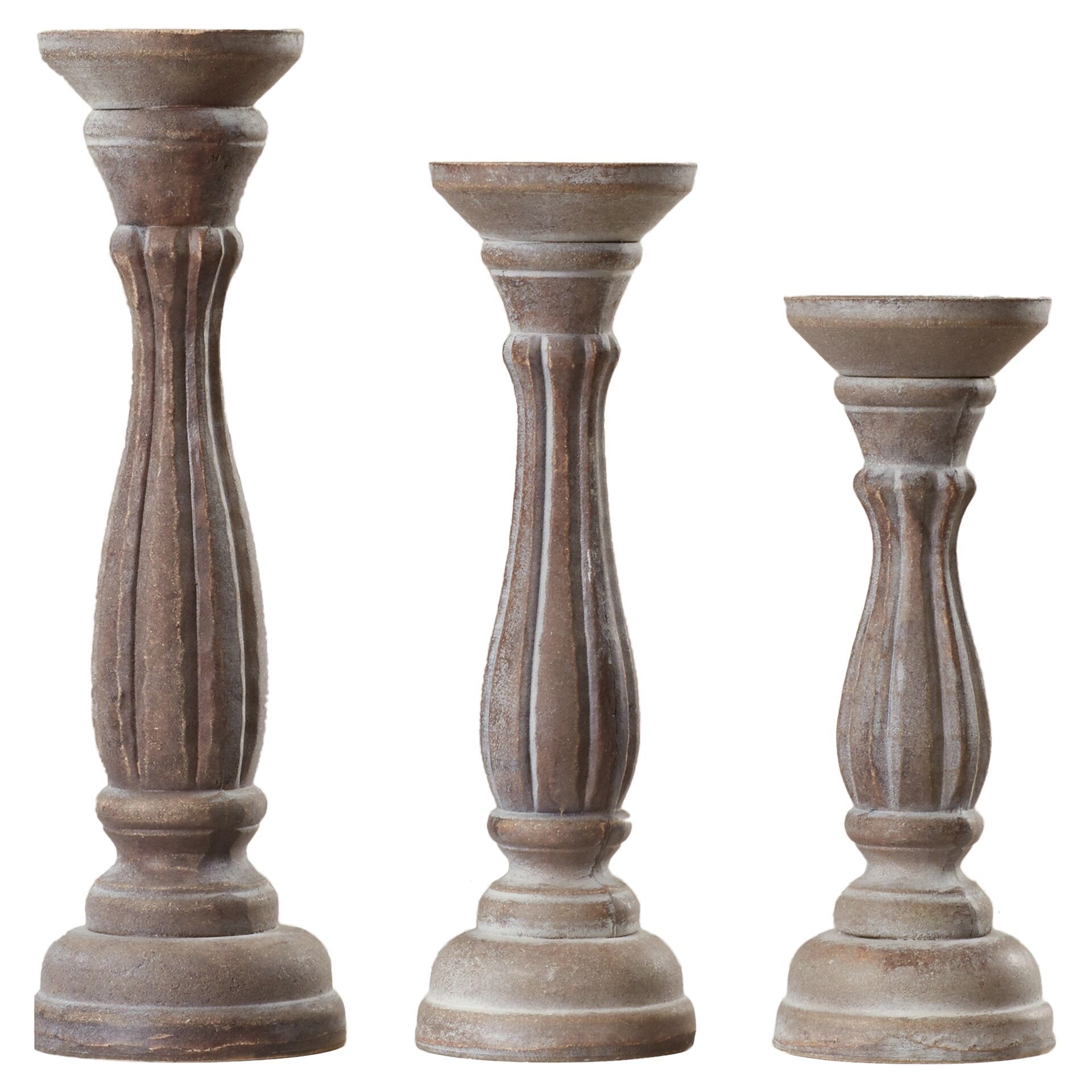 Lark Manor 3 Piece Wood Candlestick Set Reviews Wayfair