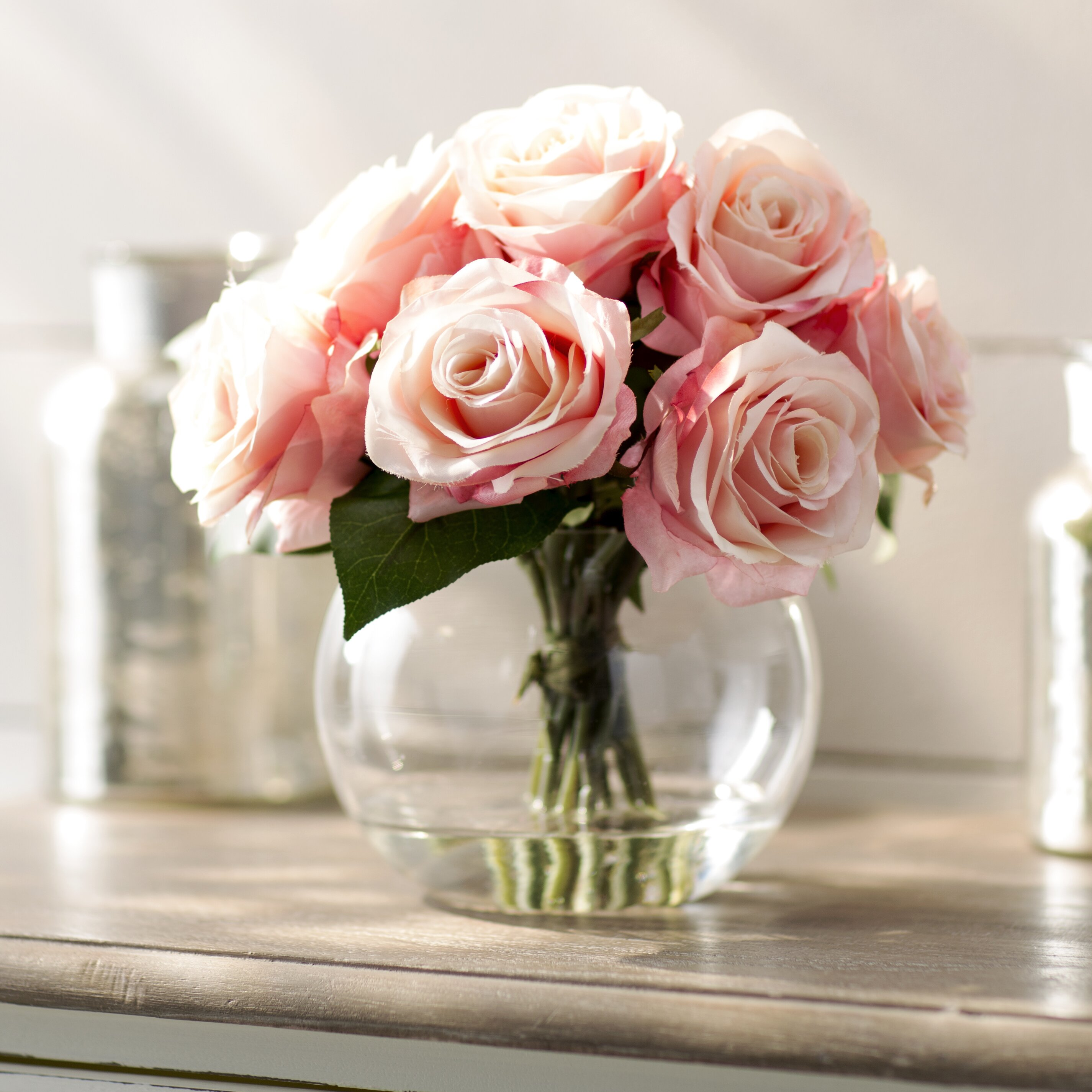 lark manor roses in glass vase reviews wayfair. Black Bedroom Furniture Sets. Home Design Ideas