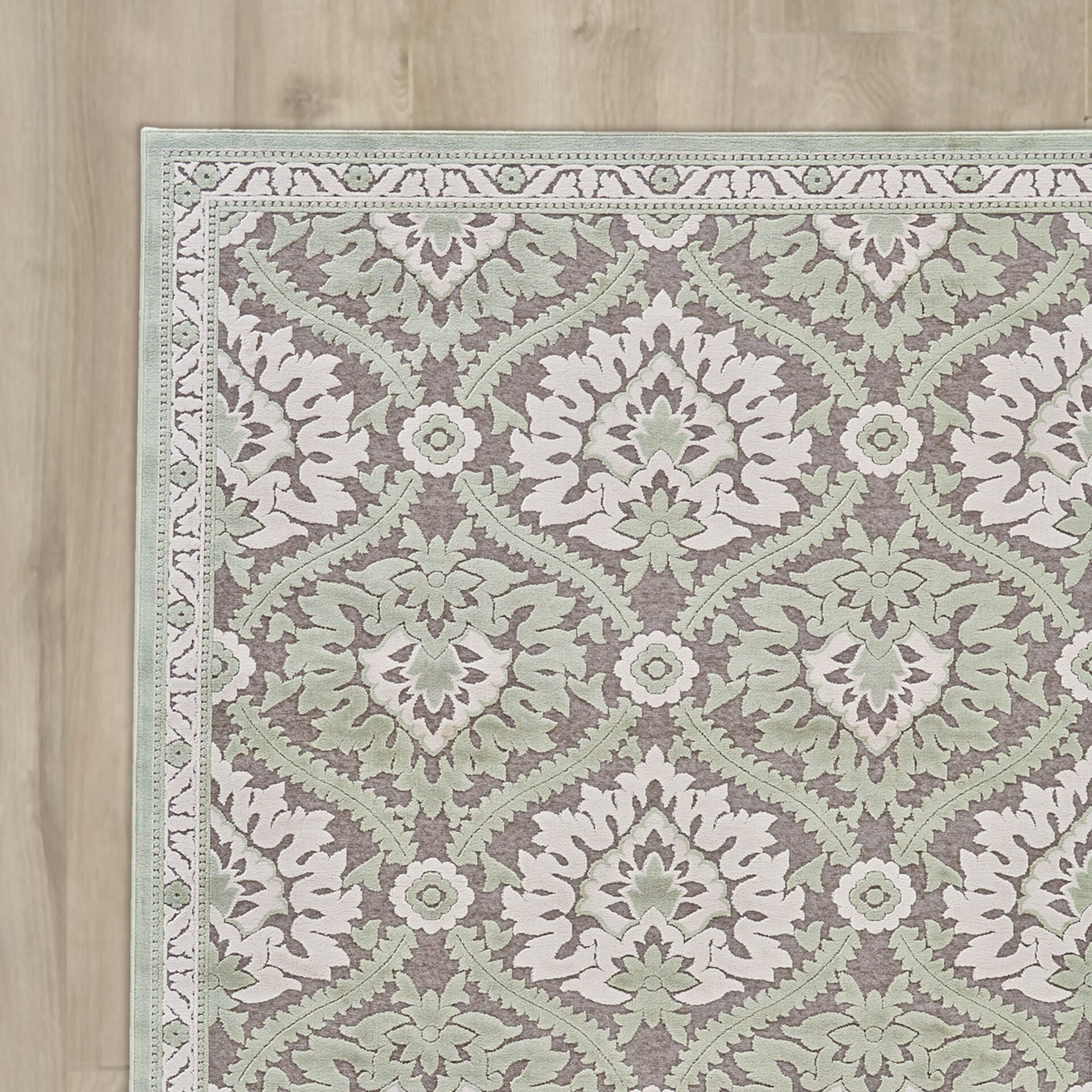 Lark Manor Rousseau Green/Gray Area Rug & Reviews