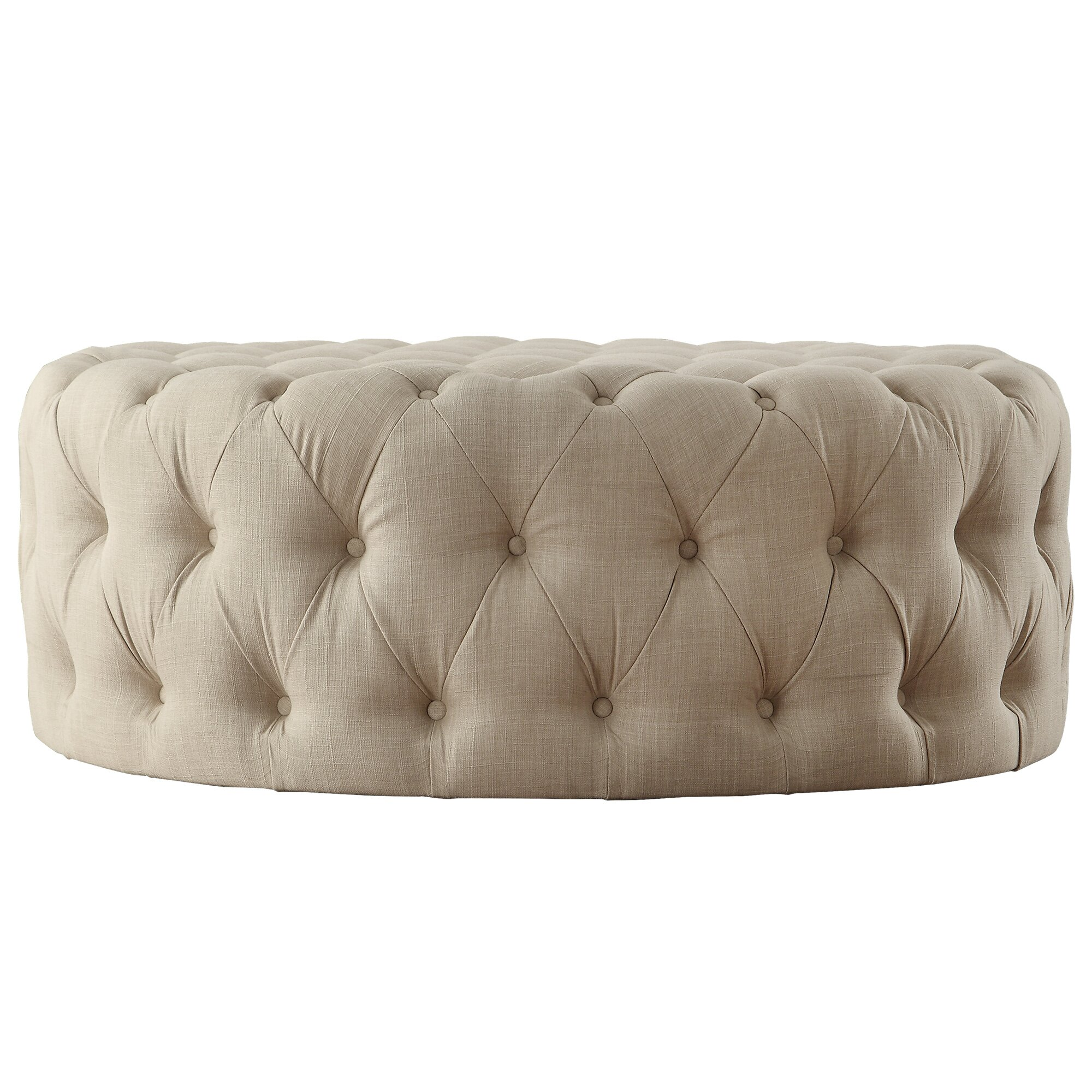 Lark Manor Bourges Round Tufted Cocktail Ottoman & Reviews | Wayfair