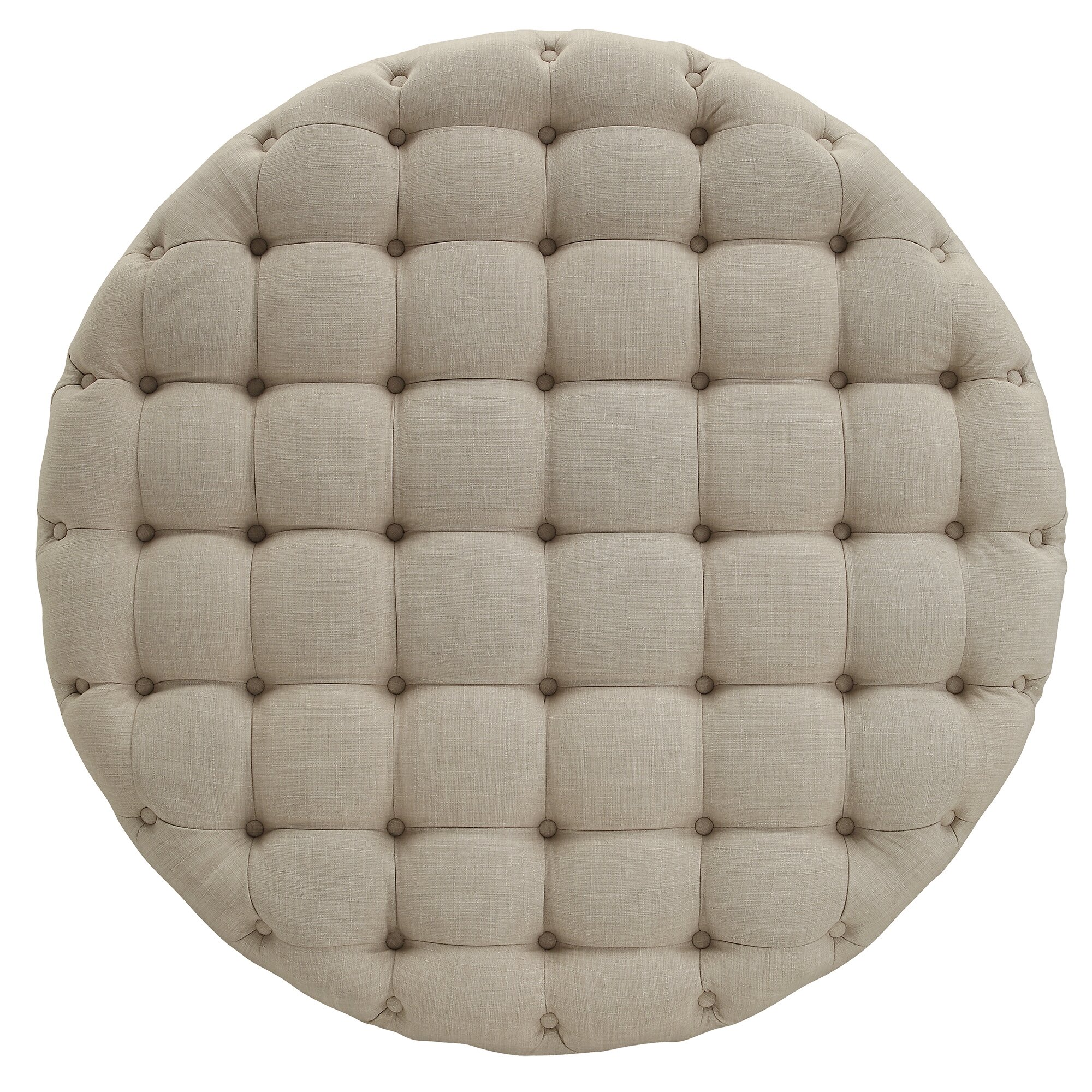 Lark Manor Bourges Round Tufted Cocktail Ottoman Reviews Wayfair