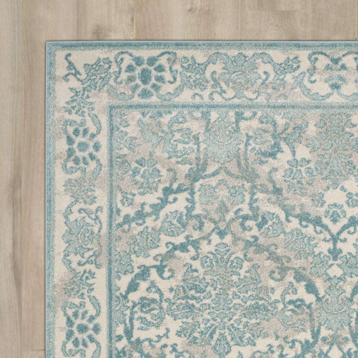 lark manor montelimar ivory light blue area rug reviews wayfair. Black Bedroom Furniture Sets. Home Design Ideas