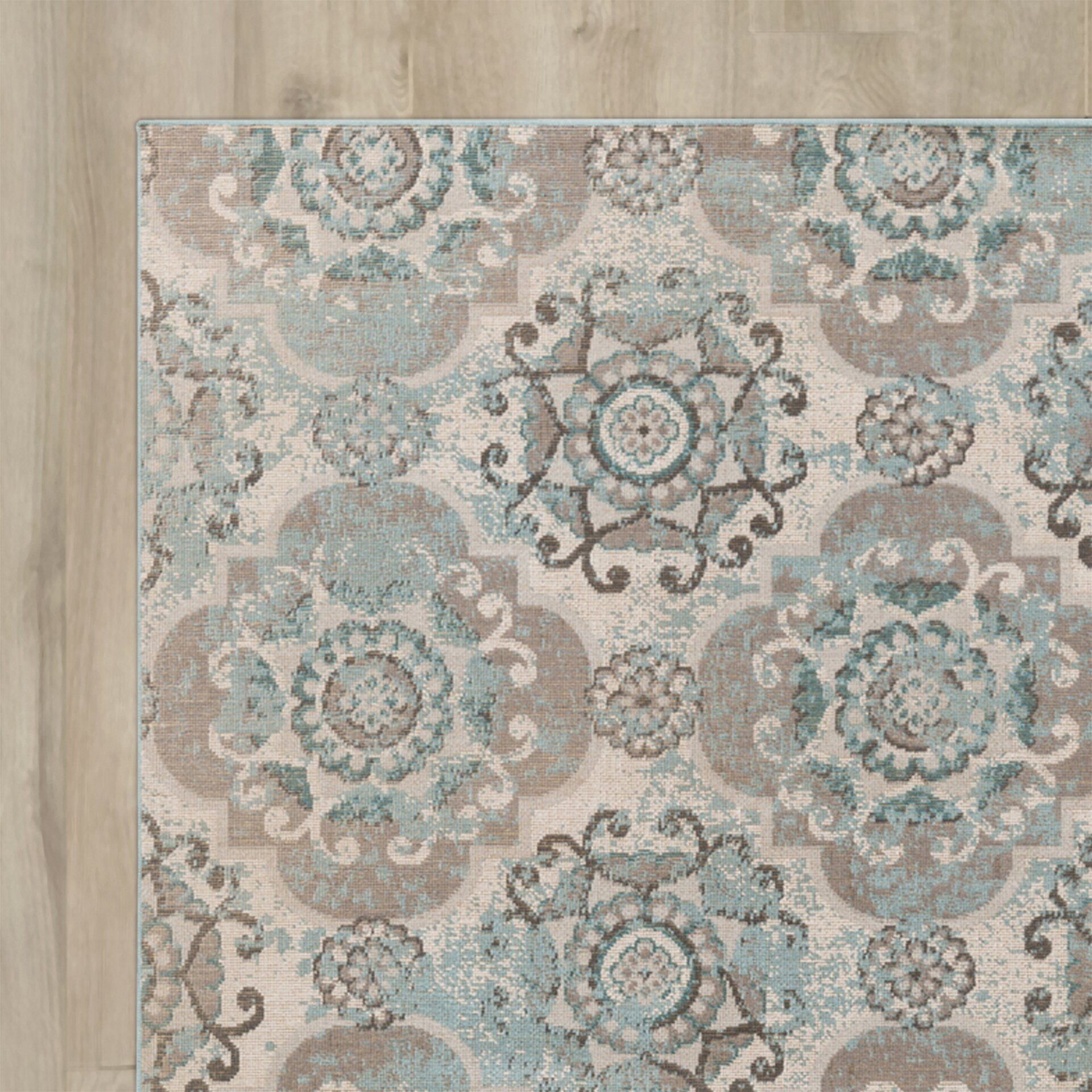 Lark manor clotilde teal beige area rug amp reviews wayfair