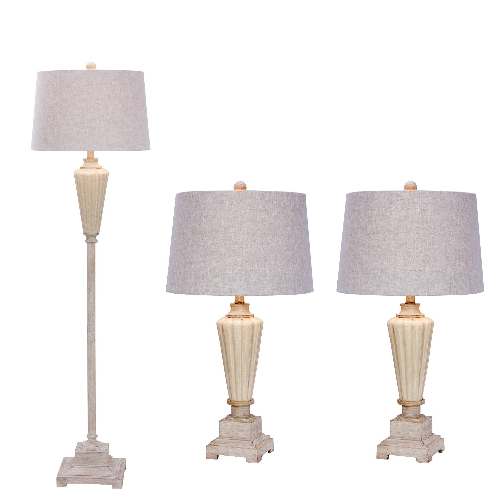 Lark manor bernard 3 piece table and floor lamp set wayfair for Floor and table lamp set uk