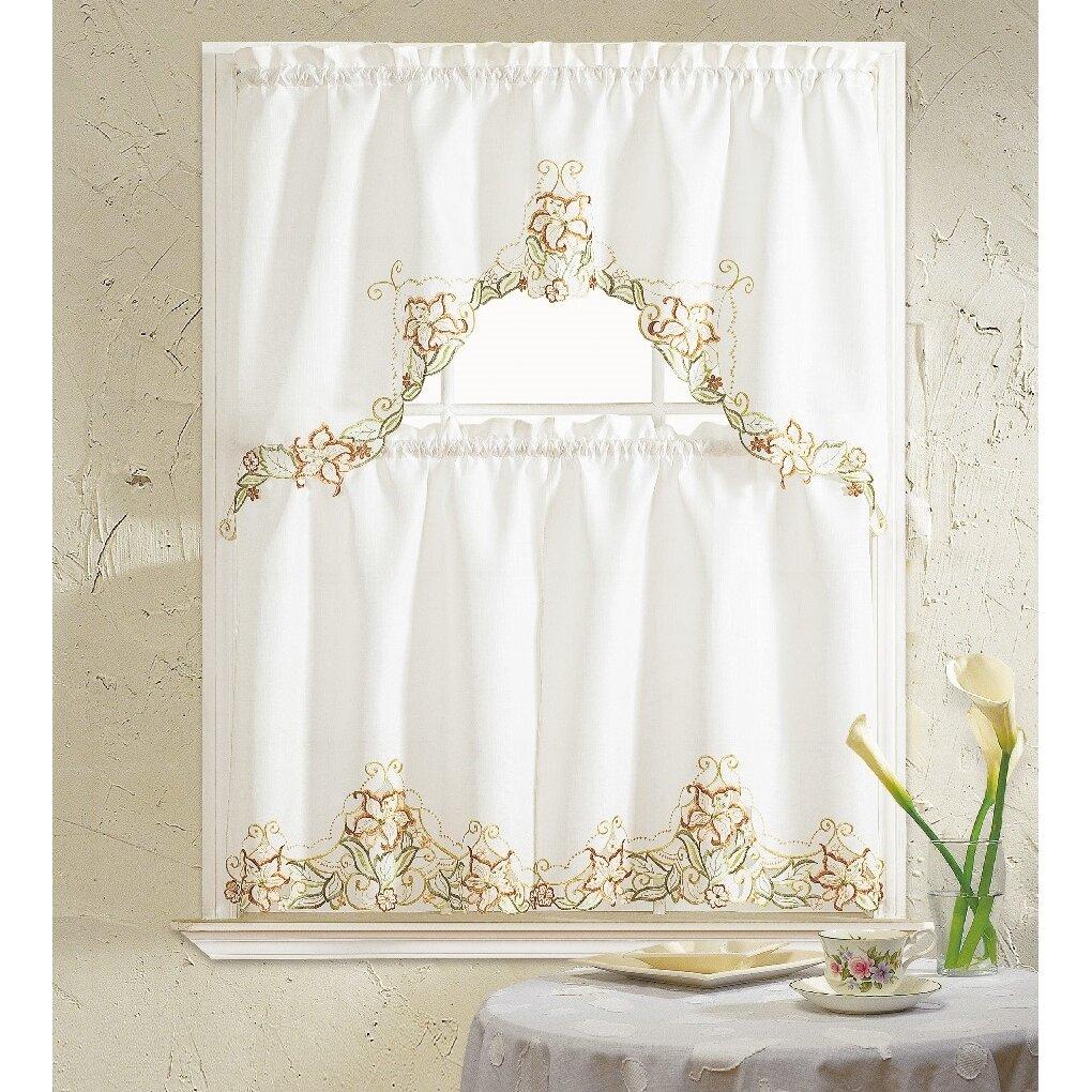 Hamilton 3 Piece Kitchen Curtain Set Available In 4: Daniels Bath Glory Flower 3 Piece Kitchen Curtain Set