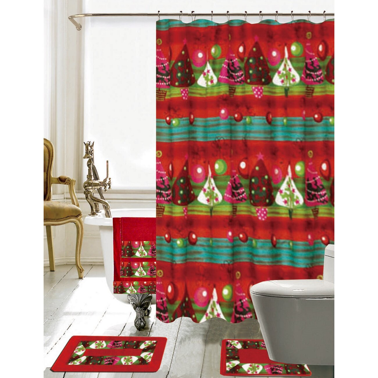 Xmas bathroom decor - Daniels Bath Christmas Bathroom Decor 18 Piece Shower Santa