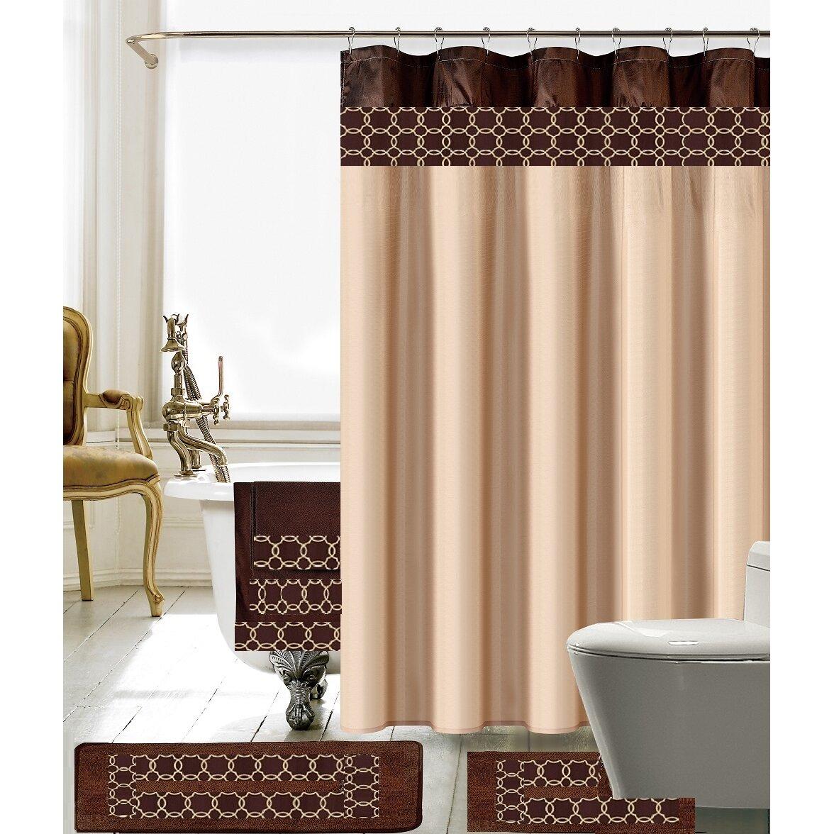 Daniels Bath 18 Piece Embroidery Shower Curtain Set