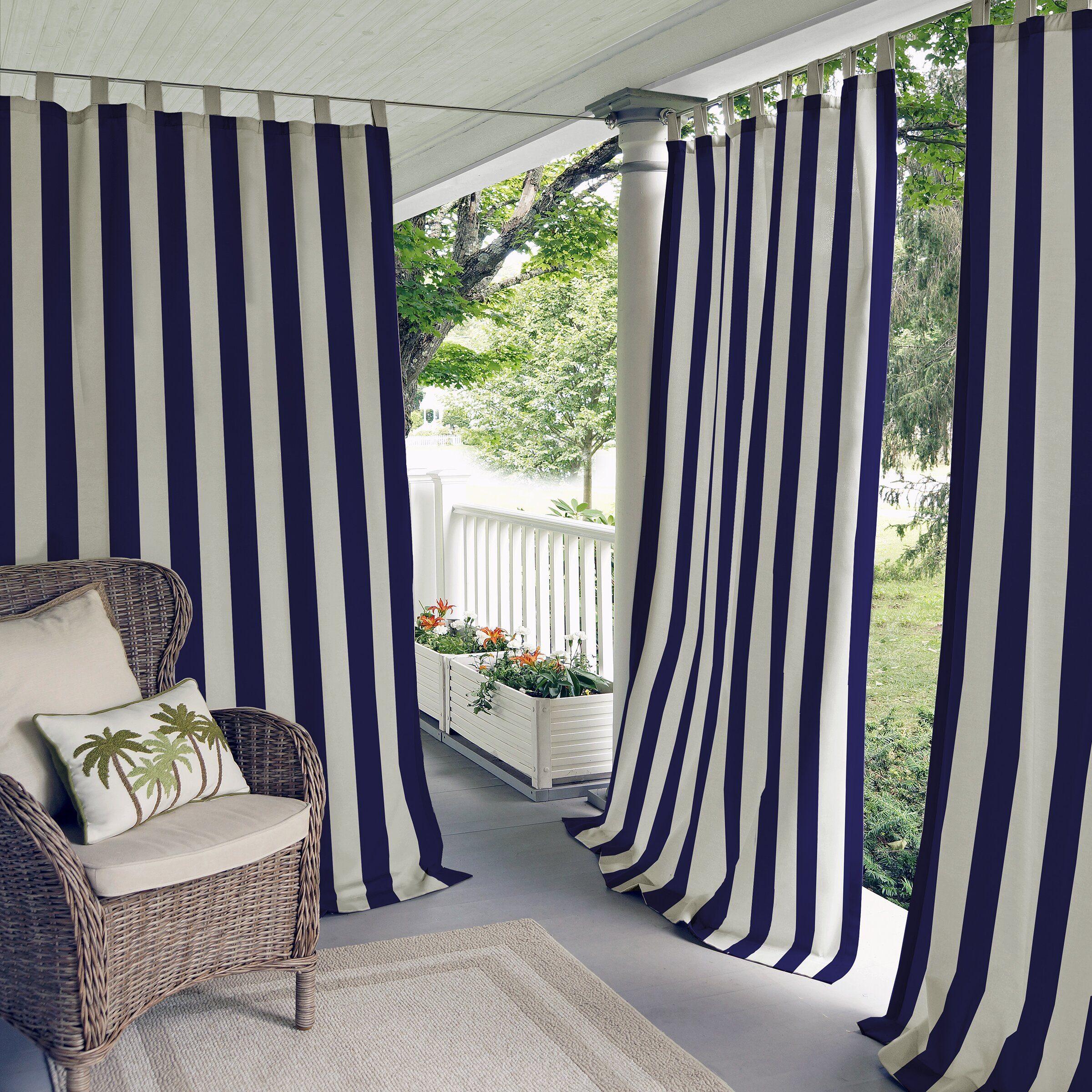 Elrene Home Fashions Highland Stripe Indoor Outdoor Single